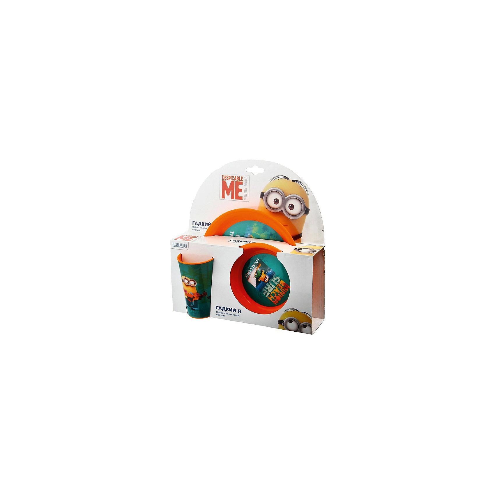Оранжевый набор посуды (3 предмета), МиньоныКрасочный набор детской посуды Миньоны порадует Вашего ребенка и замечательно подойдет для повседневного использования. В комплект входят пиала, тарелки и стакан. Все предметы выполнены в яркой оранжевой расцветке по мотивам популярного мультфильма Гадкий Я (Despicable Me) и украшены изображением забавных персонажей  - миньонов. Материал представляет собой качественный пищевой пластик, не вызывающий аллергии и безопасный для детского здоровья. Набор оформлен в нарядную подарочную упаковку. <br><br>Дополнительная информация:<br><br>- В комплекте: 1 пиала (14,8 см.), 1 тарелка (19,8 см.), 1 стакан (250 мл.).<br>- Материал: пластик.<br>- Размер упаковки: 27,2 х 9 х 27 см.<br>- Вес: 0,15 кг. <br><br>Оранжевый набор посуды (3 предмета), Миньоны, можно купить в нашем интернет-магазине.<br><br>Ширина мм: 272<br>Глубина мм: 90<br>Высота мм: 270<br>Вес г: 150<br>Возраст от месяцев: 36<br>Возраст до месяцев: 168<br>Пол: Унисекс<br>Возраст: Детский<br>SKU: 4093867