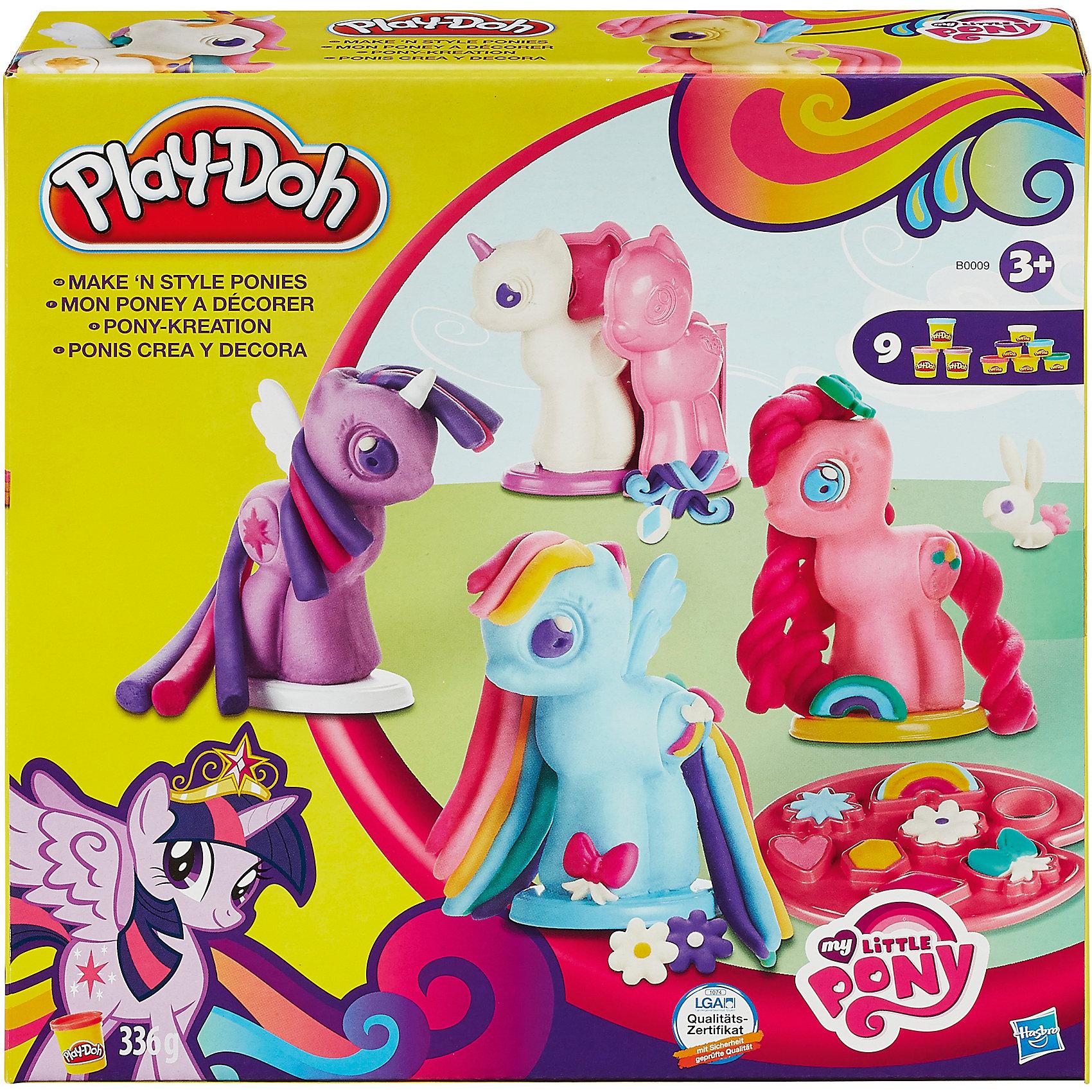 Игровой набор Создай любимую Пони, My little Pony, Play-DohСоздай любимых персонажей мультфильма Дружба - это чудо с этим набором Play-Doh! Широкий выбор уникальных инструментов для моделирования, штамповки и выдавливания пластилина позволят тебе создать и украсить любимых героинь. C такой радугой цветов ты никогда не заскучаешь! В комплекте основы для 4 героинь мультика,  экструдер, штампы Знаков Отличий, инструкции, 3 стандартных и 6 мини-баночек пластилина Play-Doh.<br><br>Ширина мм: 232<br>Глубина мм: 228<br>Высота мм: 61<br>Вес г: 648<br>Возраст от месяцев: 36<br>Возраст до месяцев: 84<br>Пол: Женский<br>Возраст: Детский<br>SKU: 4093893