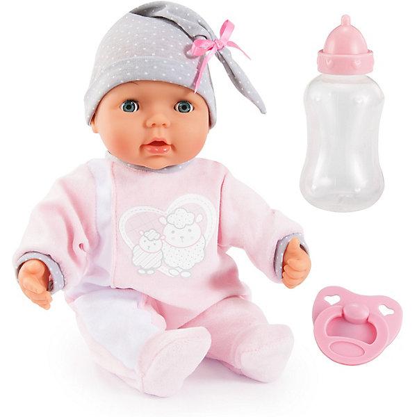 Интерактивная кукла Bayer Моя малышка, 38 смБренды кукол<br>Характеристики товара:<br><br>• возраст: от 3 лет;<br>• материал: текстиль, пластик;<br>• в комплекте: кукла, бутылочка, соска;<br>• высота куклы: 38 см;<br>• тип батареек: 2 батарейки АА;<br>• наличие батареек: в комплекте;<br>• размер упаковки: 38,5х29х12 см;<br>• вес упаковки: 1,06 кг.<br><br>Внимание! Упаковка и комплектация товара может отличаться от представленного на фото.<br><br>Кукла интерактивная Bayer «Моя малышка» - очаровательный пупс, одетый в розовый комбинезон и серую шапочку. Если нажать на кнопку, то можно услышать самые настоящие звуки ребенка. Когда куколка захочет пить, то нужно напоить ее из бутылочки. Она будет шевелить губками и чмокать, как настоящий малыш. <br><br>Куклу интерактивную Bayer «Моя малышка» можно приобрести в нашем интернет-магазине.<br>Ширина мм: 390; Глубина мм: 312; Высота мм: 131; Вес г: 916; Возраст от месяцев: 36; Возраст до месяцев: 60; Пол: Женский; Возраст: Детский; SKU: 4094132;