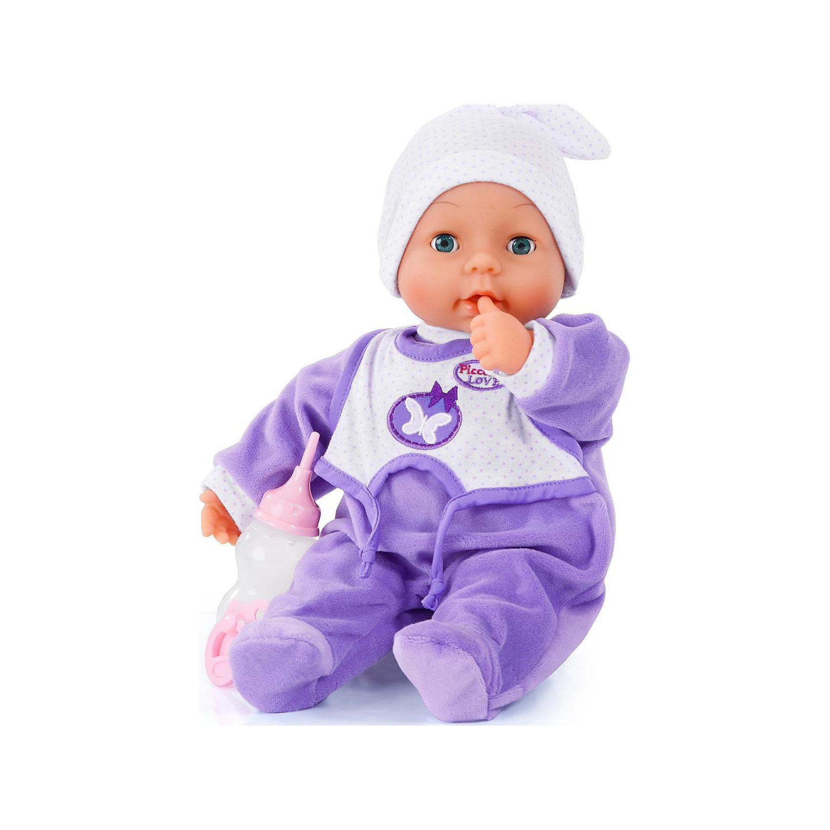 Моя любовь Пиколлина 38смМоя любовь Пиколлина - интерактивная кукла от бренда Bayer(Байер). Она умеет плакать по-настоящему, если дать ей воды из бутылочки. Кроме того, Пикколина умеет плакать, закрывать и открывать глаза. Кукла одета в фиолетовый комбинезон и шапочку. Замечательный подарок любительнице малышей!<br><br>Дополнительная информация:<br>Материал: пластик, текстиль<br>Высота: 38 см<br>Батарейки: входят в комплект<br>Вес: 900 грамм<br><br>Вы можете приобрести куклу Моя любовь Пиколлина от Bayer(Байер) в нашем интернет-магазине.<br><br>Ширина мм: 388<br>Глубина мм: 264<br>Высота мм: 132<br>Вес г: 784<br>Возраст от месяцев: 18<br>Возраст до месяцев: 60<br>Пол: Женский<br>Возраст: Детский<br>SKU: 4094133