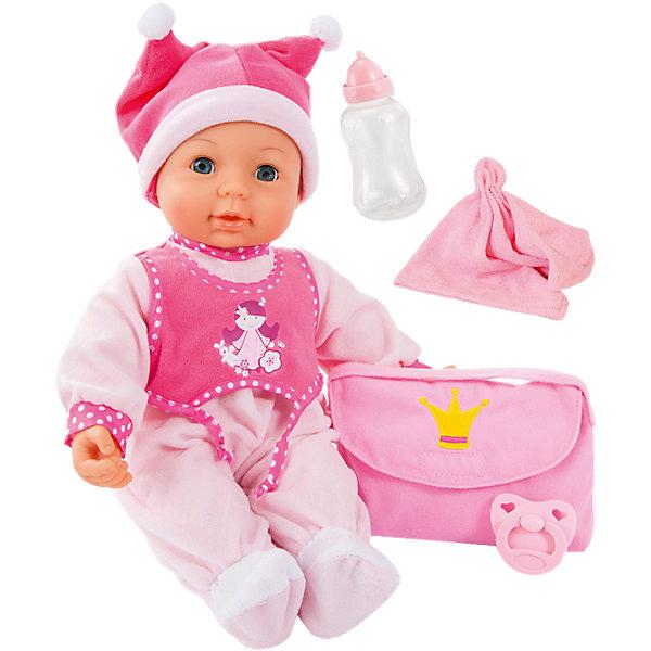 Малышка Первый поцелуй 42смКуклы<br>Малышка Первый поцелуй от известного бренда Bayer(Байер) позволит девочке почувствовать себя любящей заботливой мамой. Кукла имеет 18 функций, закрывает и открывает глаза. Отличный выбор для девочек!<br><br>Особенности:<br>- дотроньтесь щекой до ротика куклы - она поцелует вас<br>- нажмите кукле на животик, и она начнет издавать реалистичные звуки<br>- подкиньте куклу в воздух, и она начнет звонко смеяться<br>- одета в розовый комбинезон и забавную шапочку с помпонами<br><br>Дополнительная информация:<br>В комплекте: кукла, бутылочка, полотенце, соска, сумка<br>Высота: 42 см<br>Батарейки: входят в комплект<br>Материал: пластик, текстиль<br><br>Малышку Первый поцелуй от Bayer(Байер) можно купить в нашем интернет-магазине.<br><br>Ширина мм: 388<br>Глубина мм: 366<br>Высота мм: 189<br>Вес г: 1154<br>Возраст от месяцев: 18<br>Возраст до месяцев: 60<br>Пол: Женский<br>Возраст: Детский<br>SKU: 4094134