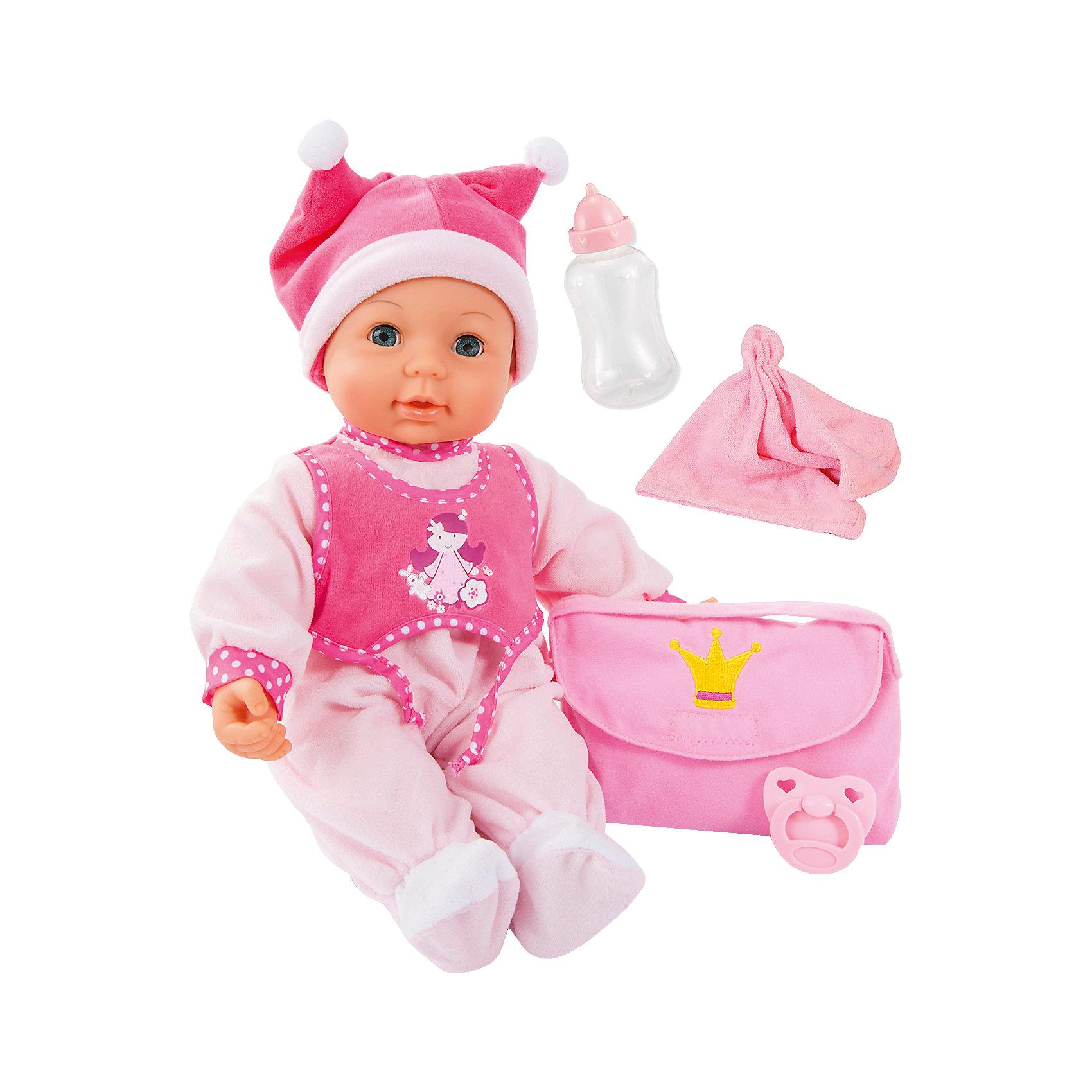 Малышка Первый поцелуй 42смБренды кукол<br>Малышка Первый поцелуй от известного бренда Bayer(Байер) позволит девочке почувствовать себя любящей заботливой мамой. Кукла имеет 18 функций, закрывает и открывает глаза. Отличный выбор для девочек!<br><br>Особенности:<br>- дотроньтесь щекой до ротика куклы - она поцелует вас<br>- нажмите кукле на животик, и она начнет издавать реалистичные звуки<br>- подкиньте куклу в воздух, и она начнет звонко смеяться<br>- одета в розовый комбинезон и забавную шапочку с помпонами<br><br>Дополнительная информация:<br>В комплекте: кукла, бутылочка, полотенце, соска, сумка<br>Высота: 42 см<br>Батарейки: входят в комплект<br>Материал: пластик, текстиль<br><br>Малышку Первый поцелуй от Bayer(Байер) можно купить в нашем интернет-магазине.<br><br>Ширина мм: 388<br>Глубина мм: 366<br>Высота мм: 189<br>Вес г: 1154<br>Возраст от месяцев: 18<br>Возраст до месяцев: 60<br>Пол: Женский<br>Возраст: Детский<br>SKU: 4094134