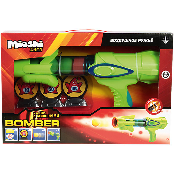 Воздушный автомат Bomber, с аксессуарами, Mioshi  ArmyИгрушечные пистолеты и бластеры<br>Теперь играть в войну и весело и безопасно! Набор: воздушный автомат Bomber, с аксессуарами от Mioshi Army создан не только для забавных игр, но и для тренировки меткости. Отстреливаться из такого автомата совершенно безопасно, ведь он стреляет мягкими шариками! Яркий воздушный автомат работает без батареек, поэтому никогда не подведет в бою. Как и положено современному оружию автомат Mioshi Army  отлично лежит в руке. Вы сможете перезарядить его в считанные минуты, ведь в пылу борьбы дорога каждая секунда! Используйте мишени на подставках и мишени в виде бочонков, чтобы выяснить, кто самый меткий!<br><br>Дополнительная информация: <br><br>- В комплекте: автомат, 4 мягких патрона EVA, 3 маленькие мишени на подставках, 6 мишеней в виде бочонков EVA;<br>- Работает без батареек;<br>- Выполнен из высококачественного пластика;<br>- Быстро перезаряжается;<br>- Удобная форма;<br>- Размер упаковки: 42 х 27,5 х 9,5 см<br>- Вес: 0,9 кг<br><br>Воздушный автомат Bomber, с аксессуарами, Mioshi  Army  можно купить в нашем интернет-магазине.<br>Ширина мм: 420; Глубина мм: 275; Высота мм: 95; Вес г: 923; Возраст от месяцев: 36; Возраст до месяцев: 72; Пол: Мужской; Возраст: Детский; SKU: 4094282;