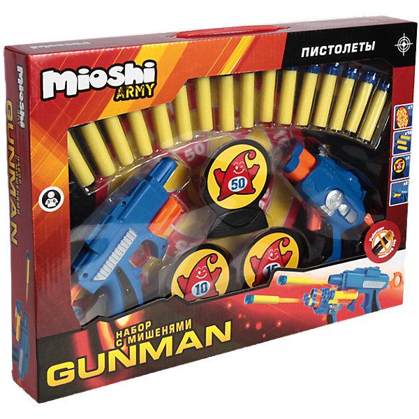 Игровой набор Gunman, с аксессуарами, Mioshi  ArmyИгрушечное оружие<br>Теперь играть в войну и весело и безопасно! Набор Gunman, с аксессуарами от Mioshi Army создан не только для забавных игр, но и для тренировки меткости. Играть с другом теперь проще ведь в комплекте целых два пистолета. Отстреливаться из пистолетов совершенно безопасно, ведь они стреляют мягкими пулями! Пистолеты работают без батареек, поэтому никогда не подведут в бою. Как и положено современному оружию пистолеты Mioshi Army  отлично лежит в руке. Вы сможете перезарядить их в считанные минуты, ведь в пылу борьбы дорога каждая секунда! Используйте мишени на подставках, чтобы выяснить, кто самый меткий! Подсчитать очки будет очень просто, ведь пули оборудованы присосками.<br><br>Дополнительная информация: <br><br>- В комплекте: 2 пластиковых пистолета, 16 мягких пуль с присосками, 3 мишени на подставках маленькие, мишень на подставке большая;<br>- Пистолеты работают без батареек;<br>- Набор выполнен из высококачественного пластика;<br>- Быстро перезаряжается;<br>- Удобная форма;<br>- Размер упаковки: 38,5 х 29 х 5,8 см<br>- Вес: 0,5 кг<br><br>Игровой набор  Gunman, с аксессуарами, Mioshi  Army  можно купить в нашем интернет-магазине.<br><br>Ширина мм: 385<br>Глубина мм: 290<br>Высота мм: 58<br>Вес г: 554<br>Возраст от месяцев: 36<br>Возраст до месяцев: 96<br>Пол: Мужской<br>Возраст: Детский<br>SKU: 4094283