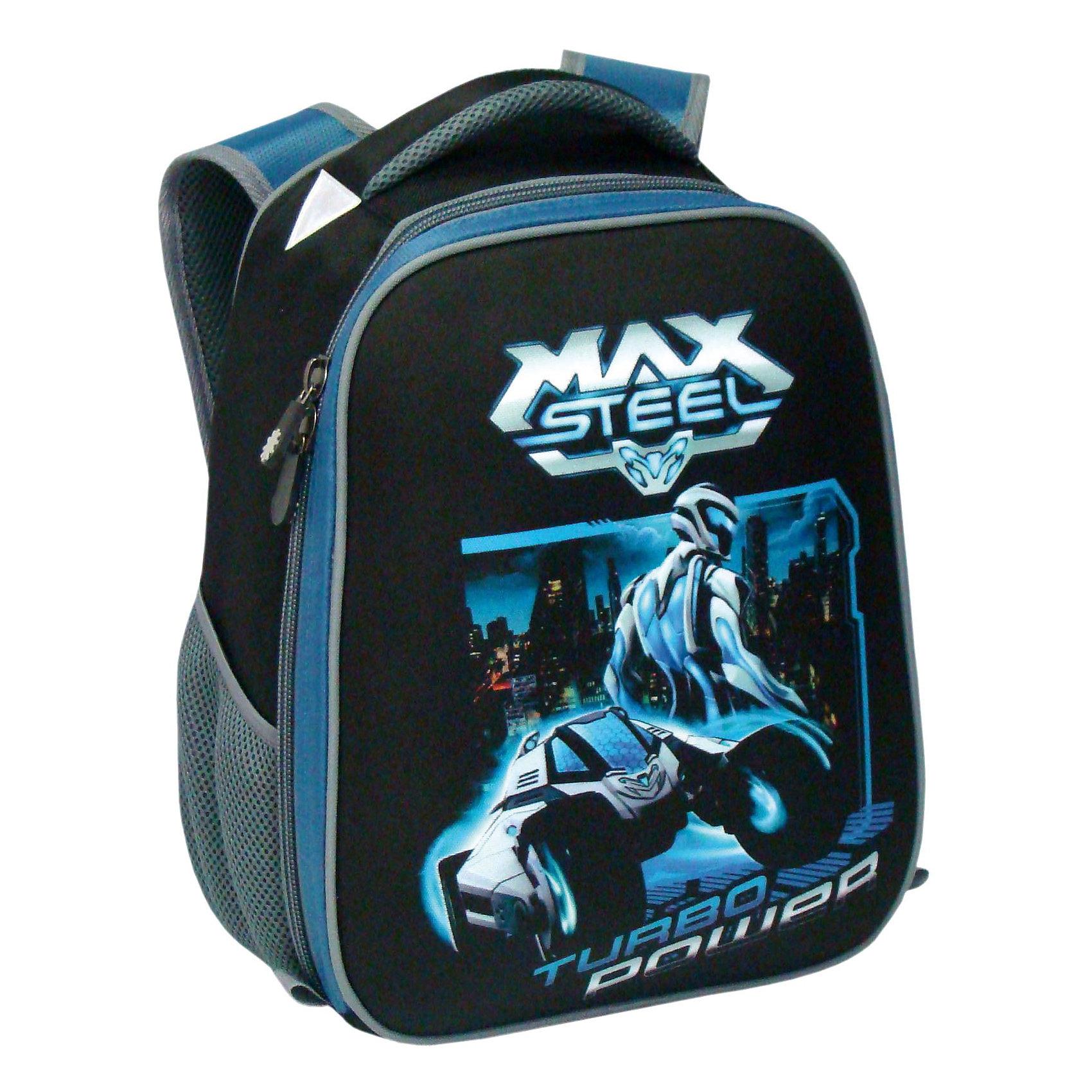 Школьный рюкзак, Max SteelРюкзак каркасный Max Steel, 38х31,5х17 см - этот яркий рюкзак вместит все, что нужно для успешного учебного дня.<br>Рюкзак Max Steel выполнен из прочного материала в стиле популярного мультсериала «Max Steel». Каркасная форма рюкзака помогает распределить нагрузку и защищает от врезания в спину ребенка краев учебников и других острых предметов. Эргономичная жесткая спинка позволяет выработать и сохранять правильную осанку ребенка. Уплотненные мягкие регулируемые лямки равномерно распределяют нагрузку по всей спине. У рюкзака имеется одно вместительное отделение два боковых кармана. Для переноски рюкзака в руках предусмотрена уплотненная ручка. Светоотражающие детали сделают Вашего ребенка заметным на дороге в темное время суток. У рюкзака жесткое ударопрочное дно, пластиковые ножки.<br><br>Дополнительная информация:<br><br>- Материал: нейлон, полиэстер<br>- Размер: 38х31,5х17 см.<br>- Вес: 770 гр.<br><br>Рюкзак каркасный Max Steel, 38х31,5х17 см можно купить в нашем интернет-магазине.<br><br>Ширина мм: 170<br>Глубина мм: 315<br>Высота мм: 380<br>Вес г: 770<br>Возраст от месяцев: 36<br>Возраст до месяцев: 120<br>Пол: Мужской<br>Возраст: Детский<br>SKU: 4098772