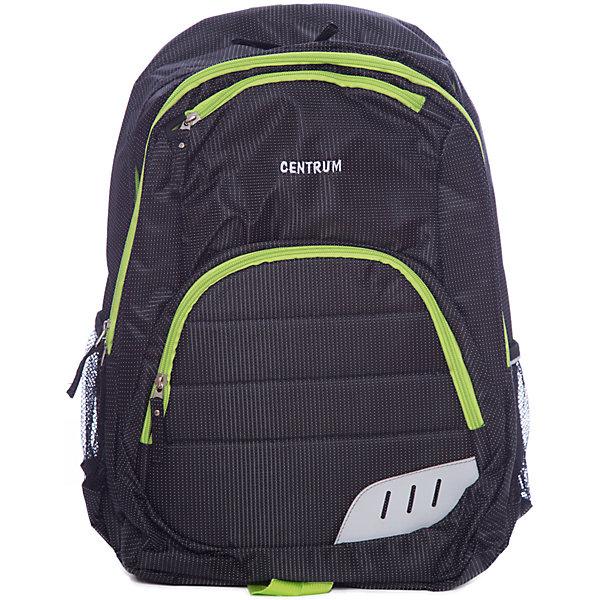 Спортивный рюкзак, черный с зеленым кантомДорожные сумки и чемоданы<br>Спортивный рюкзак, черный с зеленым кантом, Centrum (Центрум)<br><br>Характеристики:<br><br>• регулируемые лямки<br>• есть внутренние карманы<br>• застегивается на молнию<br>• материал: полиэстер<br>• размер: 52х38х14 см<br><br>Спортивный рюкзак Центрум имеет два вместительных отделения, которые застегиваются на молнию. Также есть 2 сетчатых боковых кармана. Лямки рюкзака регулируются по росту ребенка. Внешняя сторона имеет черный цвет и декорирована зеленым кантом.<br><br>Спортивный рюкзак, черный, с зеленым кантом, Centrum (Центрум) можно купить в нашем интернет-магазине.<br>Ширина мм: 180; Глубина мм: 330; Высота мм: 475; Вес г: 380; Возраст от месяцев: 72; Возраст до месяцев: 120; Пол: Мужской; Возраст: Детский; SKU: 4098800;