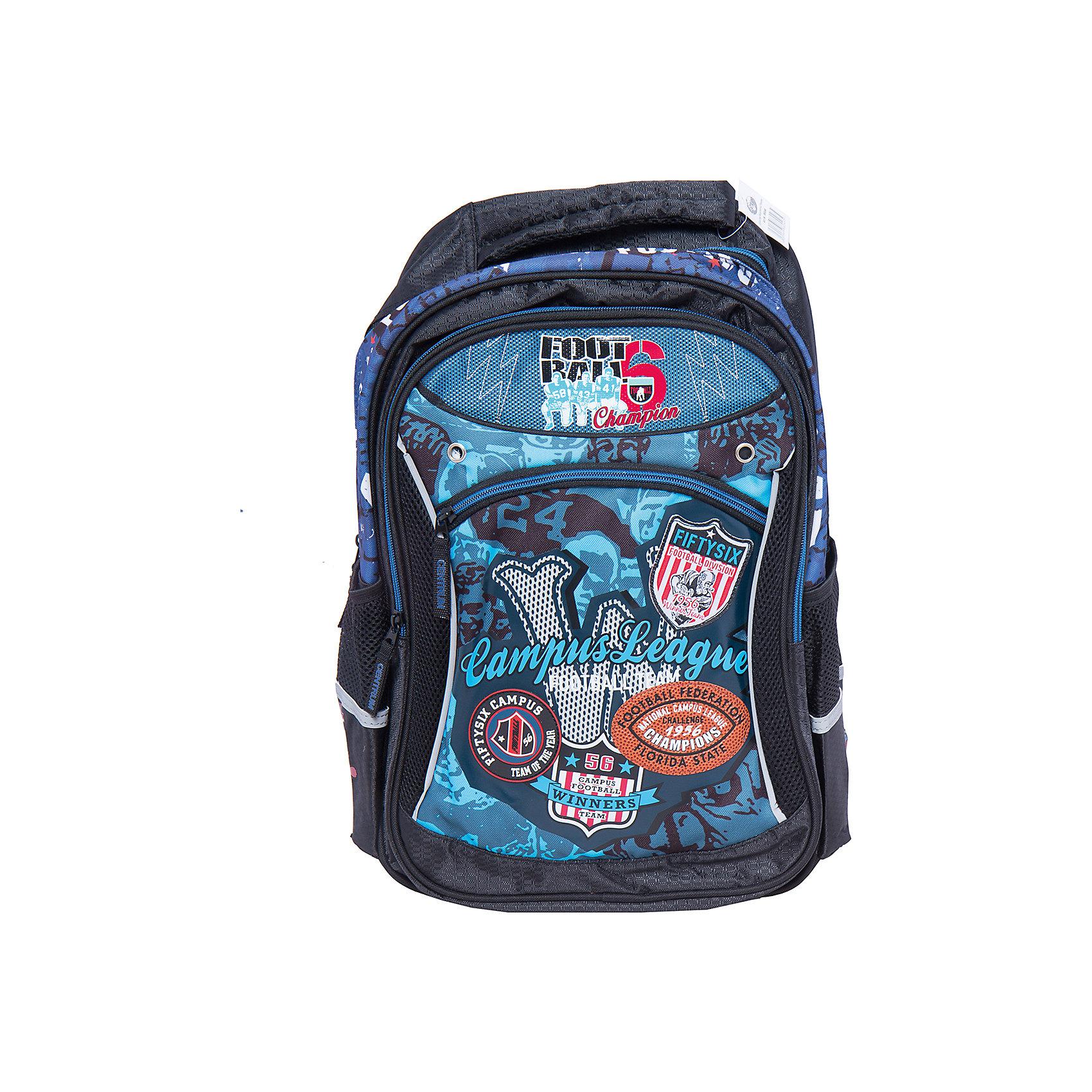 Школьный рюкзак с уплотненной спинкой и светоотражателямиРюкзак с уплотненной спинкой и светоотражателями, 42х30,5х14 см - этот яркий рюкзак вместит все, что нужно для успешного учебного дня.<br>Удобный рюкзак для повседневного использования выполнен из прочной долговечной ткани. Уплотненная спинка рюкзака не позволит ребенку устать. Широкие, мягкие, регулируемые лямки помогают равномерно распределить нагрузку по всей спине. Светоотражатели сделают Вашего ребенка заметным на дороге в темное время суток. У рюкзака имеется одно вместительное отделение, два боковых кармана и один внешний большой карман, закрывающийся на застежку-молнию. Для переноски рюкзака в руках предусмотрена ручка-петля.<br><br>Дополнительная информация:<br><br>- Материал: жаккард 600 ден<br>- Цвет: черный, синий<br>- Размер: 42х30,5х14 см.<br>- Вес: 600 гр.<br><br>Рюкзак с уплотненной спинкой и светоотражателями, 42х30,5х14 см можно купить в нашем интернет-магазине.<br><br>Ширина мм: 140<br>Глубина мм: 305<br>Высота мм: 420<br>Вес г: 600<br>Возраст от месяцев: 36<br>Возраст до месяцев: 120<br>Пол: Мужской<br>Возраст: Детский<br>SKU: 4098804