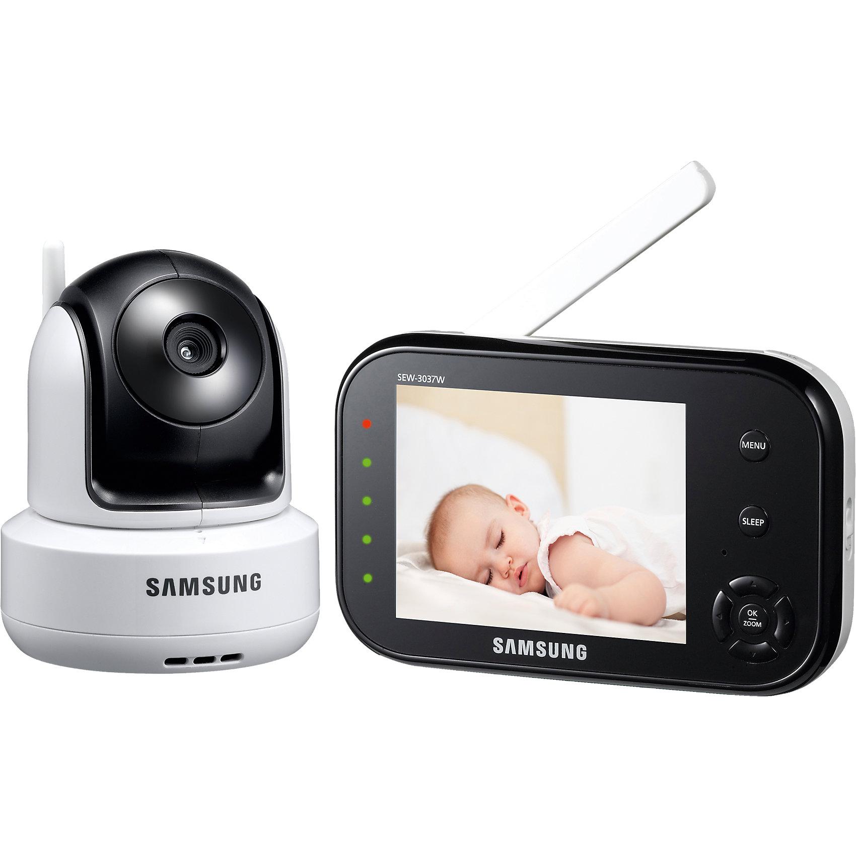 Видеоняня SEW-3037WP, SamsungДетская бытовая техника<br>Для спокойствия молодых родителей компания Samsung занялась производством видеонянь, которые помогают непрерывно наблюдать за своим малышом, даже, когда они не находятся с ним в комнате. Видеоняня Samsung представляет собой камеру (детский блок) и дисплей (родительский блок). Угол обзора камеры позволяет охватить полностью всю детскую. Дисплей достаточно с большой диагональю – 3.5 дюйма (9 см). Работает видеоняня на расстоянии 300 метров, поэтому прекрасно подойдет для большой квартиры или частного дома. Одновременно можно подключить до 4-х камер, что очень удобно, ведь их возможно расположить в разных комнатах и не переносить детский блок из комнаты в комнату.<br><br> Дополнительная информация:<br><br>- диагональ дисплея 9 см (3,5 дюйма).<br>- дальность приёма 300 метров.<br>- система подавления помех. <br>- двухсторонняя связь. вы можете не только слышать малыша, но и поговорить с ним на расстоянии.<br>- ночное видение включается автоматически при недостаточном освещении в детской комнате.<br>- активация при плаче (vox) <br>- кнопка «sleep» <br>- индикатор громкости плача в виде led-индикаторов.<br>- функция приближения (цифровой зум).<br>- наклон камеры можно отрегулировать вручную.<br>- предупреждение о выходе из зоны приёма.<br>- предупреждение о низком заряде аккумулятора.<br>- регулировка громкости звука.<br>- к детскому блоку видеоняни можно одновременно подключить до 4 камер, которые ---переключаются вручную или в автоматическом режиме.<br>- в комплекте набор для крепления камеры на стене.<br><br>Видеоняня  торговой марки  Samsung можно купить в нашем интернет-магазине<br><br>Ширина мм: 289<br>Глубина мм: 241<br>Высота мм: 121<br>Вес г: 1004<br>Цвет: белый<br>Возраст от месяцев: 0<br>Возраст до месяцев: 36<br>Пол: Унисекс<br>Возраст: Детский<br>SKU: 4099419