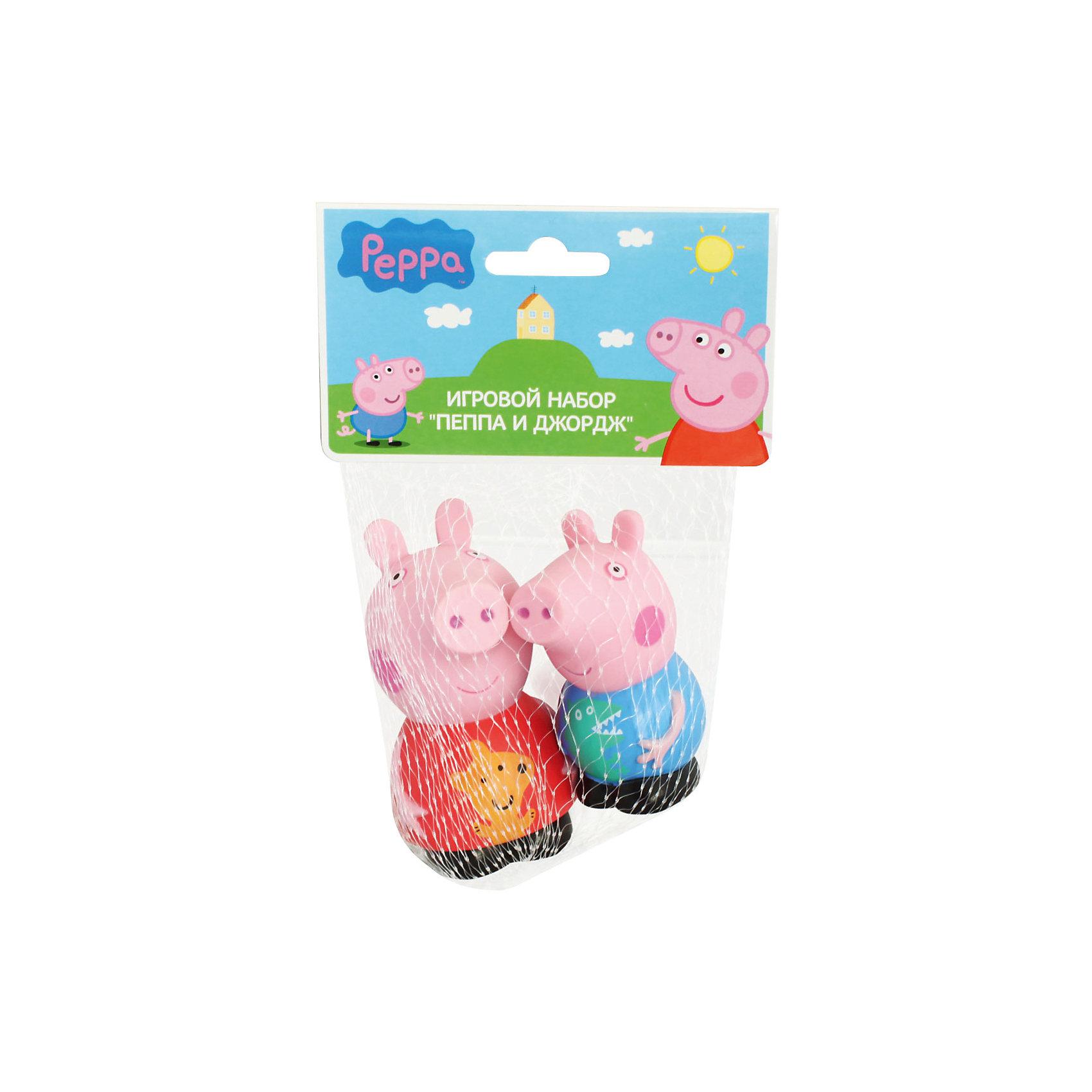 Игровой набор  Пеппа и Джордж 10 см, Свинка ПеппаСвинка Пеппа<br>Пеппа и Джордж – это герои веселого мультфильма «Свинка Пеппа» (Peppa Pig). С их резиновыми фигурками малыш может увлеченно играть и дома, и на улице, и даже в ванне. Их яркая окраска улучшает цветовосприятие малютки, а приятная на ощупь поверхность развивает тактильные ощущения. И, конечно, игра с этими забавными игрушками отлично развивает фантазию малыша. <br><br>Дополнительная информация:<br><br>Игрушки выполнены из пластизоля и имеют высоту 10 см. <br><br>Игровой набор  Пеппа и Джордж 10 см, Свинка Пеппа (Peppa Pig)можно купить в нашем магазине.<br><br>Ширина мм: 90<br>Глубина мм: 50<br>Высота мм: 100<br>Вес г: 78<br>Возраст от месяцев: 36<br>Возраст до месяцев: 2147483647<br>Пол: Унисекс<br>Возраст: Детский<br>SKU: 4102298