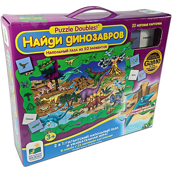 Пазл и игра Найди динозавров, 2в1,  Learning JourneyПазлы для малышей<br>Пазл и игра Найди динозавров, 2в1, The Learning Journey - увлекательный красочный игровой набор, который обязательно заинтересует Вашего ребенка. С помощью входящих в набор деталей он сможет собрать большую напольную картинку с различными видами динозавров на фоне древнего земного пейзажа. В комплект также входят 22 игровые карточки с изображениями и названиями динозавров и, после того как большой пазл будет собран, можно поиграть в веселую игру - найти на картинке всех динозавров, изображенных на карточках и запомнить их названия. Все элементы игры выполнены из плотного качественного картона. Собирание пазла способствует развитию логического мышления, внимания, мелкой моторики и координации движений.<br><br>Дополнительная информация:<br><br>- В комплекте: пазл (50 элементов), 22 игровые карточки.<br>- Материал: картон.<br>- Размер собранной картинки: 91,5 х 61 см.<br>- Размер упаковки: 25,5 x 8 x 30 см. <br>- Вес: 190 гр.<br><br>Пазл и игру Найди динозавров, 2в1, The Learning Journey, можно купить в нашем интернет-магазине.<br>Ширина мм: 254; Глубина мм: 76; Высота мм: 300; Вес г: 190; Возраст от месяцев: 36; Возраст до месяцев: 84; Пол: Унисекс; Возраст: Детский; Количество деталей: 50; SKU: 4108969;