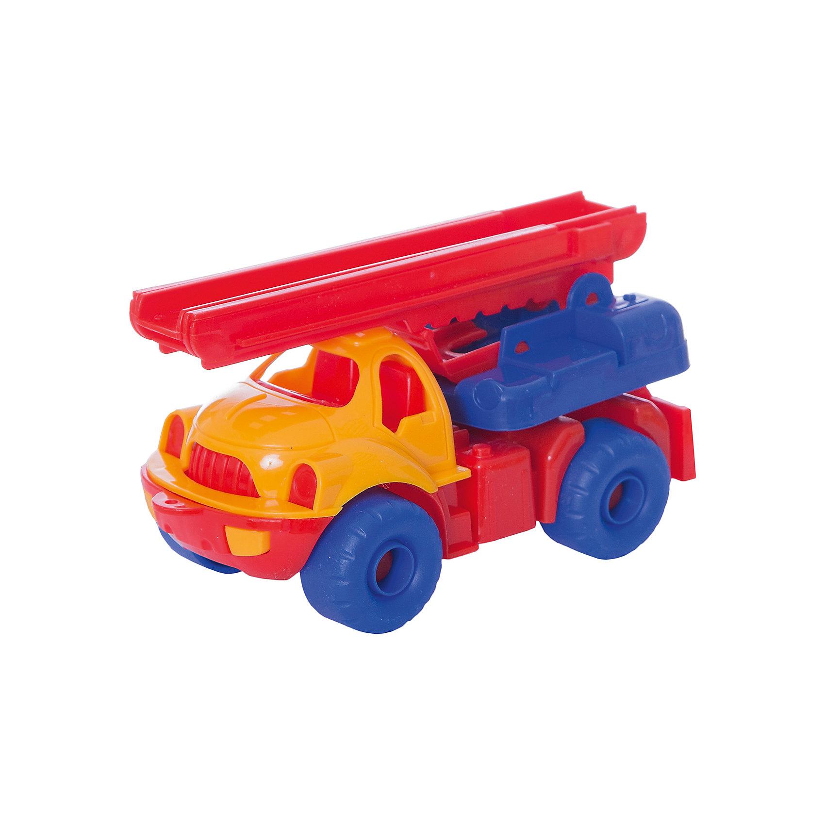 Пожарная машина Малыш, НордпластИграем в песочнице<br>Пожарная машина Малыш, Нордпласт – это яркая пластмассовая машина, которой интересно будет играть вашему мальчику.<br>Пожарная машина Малыш от компании Нордпласт прекрасно подойдет для игр, как в помещении, так и на улице. Платформа у машины вращается вокруг своей оси, пожарная лестница, установленная на платформе, поднимается, опускается и раздвигается вверх на высоту до 40 см. Ребенок получит большое удовольствие, управляя ей вручную. У машины большие колеса, малышу будет удобно ее катать. А яркая расцветка поможет ребенку не потерять машину из виду на прогулке. Игры с этой машиной помогут Вашему ребенку развить координацию движений, ловкость, моторику и воображение. Игрушка изготовлена из высококачественной пищевой пластмассы, без трещин и заусениц, поэтому во время эксплуатации выдержит многие детские шалости. Она покрыта нетоксичной краской, не облупливающейся и не выгорающей на солнце. Товар соответствует требованиям стандарта для детских игрушек и имеет сертификат качества.<br><br>Дополнительная информация:<br><br>- Материал: высококачественная пластмасса<br>- Размер: 18,5 х 9,5 х 10 см.<br>- Вес: 170 гр.<br><br>Пожарную машину Малыш, Нордпласт можно купить в нашем интернет-магазине.<br><br>Ширина мм: 185<br>Глубина мм: 95<br>Высота мм: 100<br>Вес г: 170<br>Возраст от месяцев: 36<br>Возраст до месяцев: 72<br>Пол: Мужской<br>Возраст: Детский<br>SKU: 4112732