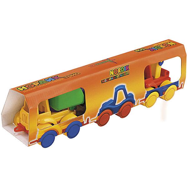 Набор Трио (Самосвал, легковая, кран), НордпластИграем в песочнице<br>Набор Трио (Самосвал, легковая, кран), Нордпласт – это яркие пластмассовые машины, которыми интересно будет играть вашему мальчику.<br>Набор игрушечных машинок Нордик Трио от компании Нордпласт включает в себя легковой автомобиль, кран и самосвал. Все игрушки яркой расцветки, что обязательно будет привлекать внимание ребенка. Крепления машинок «Нордик» легко совмещаются друг с другом и их можно свободно соединять с другими наборами из этой серии. У машинок надежная колесная база. С этим набором можно играть дома, на улице, и Вашему малышу некогда будет скучать. Игрушки изготовлены из высококачественной пищевой пластмассы, без трещин и заусениц, поэтому во время эксплуатации выдержат многие детские шалости. Они покрыты нетоксичной краской, не облупливающейся и не выгорающей на солнце. Товар соответствует требованиям стандарта для детских игрушек и имеет сертификат качества.<br><br>Дополнительная информация:<br><br>- В наборе: легковой автомобиль, кран, самосвал<br>- Материал: высококачественная пластмасса<br>- Размер упаковки: 9х7х38 см.<br>- Вес: 210 гр.<br><br>Набор Трио (Самосвал, легковая, кран), Нордпласт можно купить в нашем интернет-магазине.<br><br>Ширина мм: 380<br>Глубина мм: 70<br>Высота мм: 90<br>Вес г: 210<br>Возраст от месяцев: 36<br>Возраст до месяцев: 72<br>Пол: Мужской<br>Возраст: Детский<br>SKU: 4112735