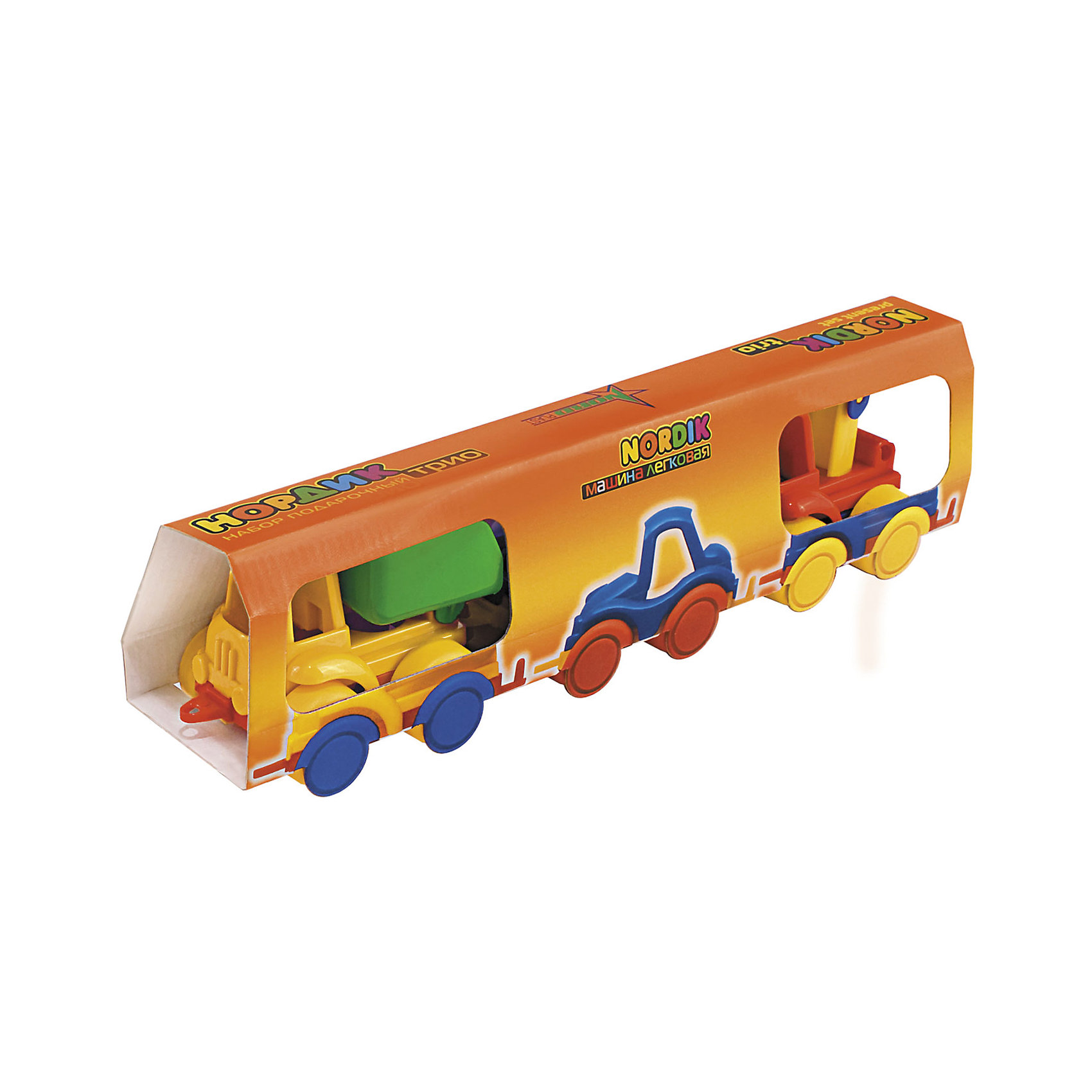 Набор Трио (Самосвал, легковая, кран), НордпластНабор Трио (Самосвал, легковая, кран), Нордпласт – это яркие пластмассовые машины, которыми интересно будет играть вашему мальчику.<br>Набор игрушечных машинок Нордик Трио от компании Нордпласт включает в себя легковой автомобиль, кран и самосвал. Все игрушки яркой расцветки, что обязательно будет привлекать внимание ребенка. Крепления машинок «Нордик» легко совмещаются друг с другом и их можно свободно соединять с другими наборами из этой серии. У машинок надежная колесная база. С этим набором можно играть дома, на улице, и Вашему малышу некогда будет скучать. Игрушки изготовлены из высококачественной пищевой пластмассы, без трещин и заусениц, поэтому во время эксплуатации выдержат многие детские шалости. Они покрыты нетоксичной краской, не облупливающейся и не выгорающей на солнце. Товар соответствует требованиям стандарта для детских игрушек и имеет сертификат качества.<br><br>Дополнительная информация:<br><br>- В наборе: легковой автомобиль, кран, самосвал<br>- Материал: высококачественная пластмасса<br>- Размер упаковки: 9х7х38 см.<br>- Вес: 210 гр.<br><br>Набор Трио (Самосвал, легковая, кран), Нордпласт можно купить в нашем интернет-магазине.<br><br>Ширина мм: 380<br>Глубина мм: 70<br>Высота мм: 90<br>Вес г: 210<br>Возраст от месяцев: 36<br>Возраст до месяцев: 72<br>Пол: Мужской<br>Возраст: Детский<br>SKU: 4112735