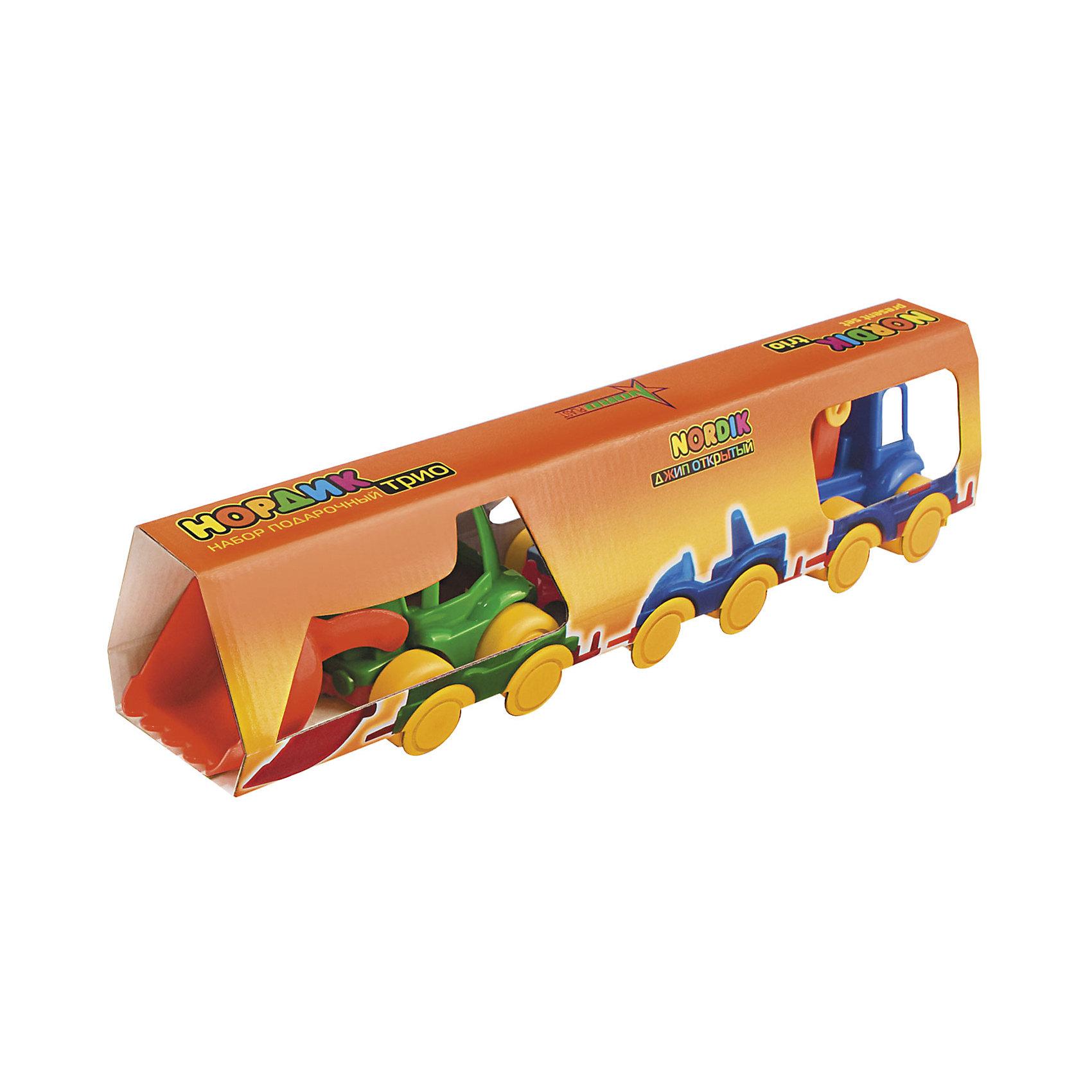 Набор Трио (Трактор, джип, пожарка), НордпластМашинки<br>Набор Трио (Трактор, джип, пожарка), Нордпласт – это яркие пластмассовые машины, которыми интересно будет играть вашему мальчику.<br>Набор игрушечных машинок Нордик Трио от компании Нордпласт включает в себя трактор, джип, пожарную машинку. Все игрушки яркой расцветки, что обязательно будет привлекать внимание ребенка. Крепления машинок «Нордик» легко совмещаются друг с другом и их можно свободно соединять с другими наборами из этой серии. У машинок надежная колесная база. С этим набором можно играть дома, на улице, и Вашему малышу некогда будет скучать. Игрушки изготовлены из высококачественной пищевой пластмассы, без трещин и заусениц, поэтому во время эксплуатации выдержат многие детские шалости. Они покрыты нетоксичной краской, не облупливающейся и не выгорающей на солнце. Товар соответствует требованиям стандарта для детских игрушек и имеет сертификат качества.<br><br>Дополнительная информация:<br><br>- В наборе: трактор, джип, пожарная машинка<br>- Материал: высококачественная пластмасса<br>- Размер упаковки: 9х7х38 см.<br>- Вес: 210 гр.<br><br>Набор Трио (Трактор, джип, пожарка), Нордпласт можно купить в нашем интернет-магазине.<br><br>Ширина мм: 380<br>Глубина мм: 70<br>Высота мм: 90<br>Вес г: 210<br>Возраст от месяцев: 36<br>Возраст до месяцев: 72<br>Пол: Мужской<br>Возраст: Детский<br>SKU: 4112736