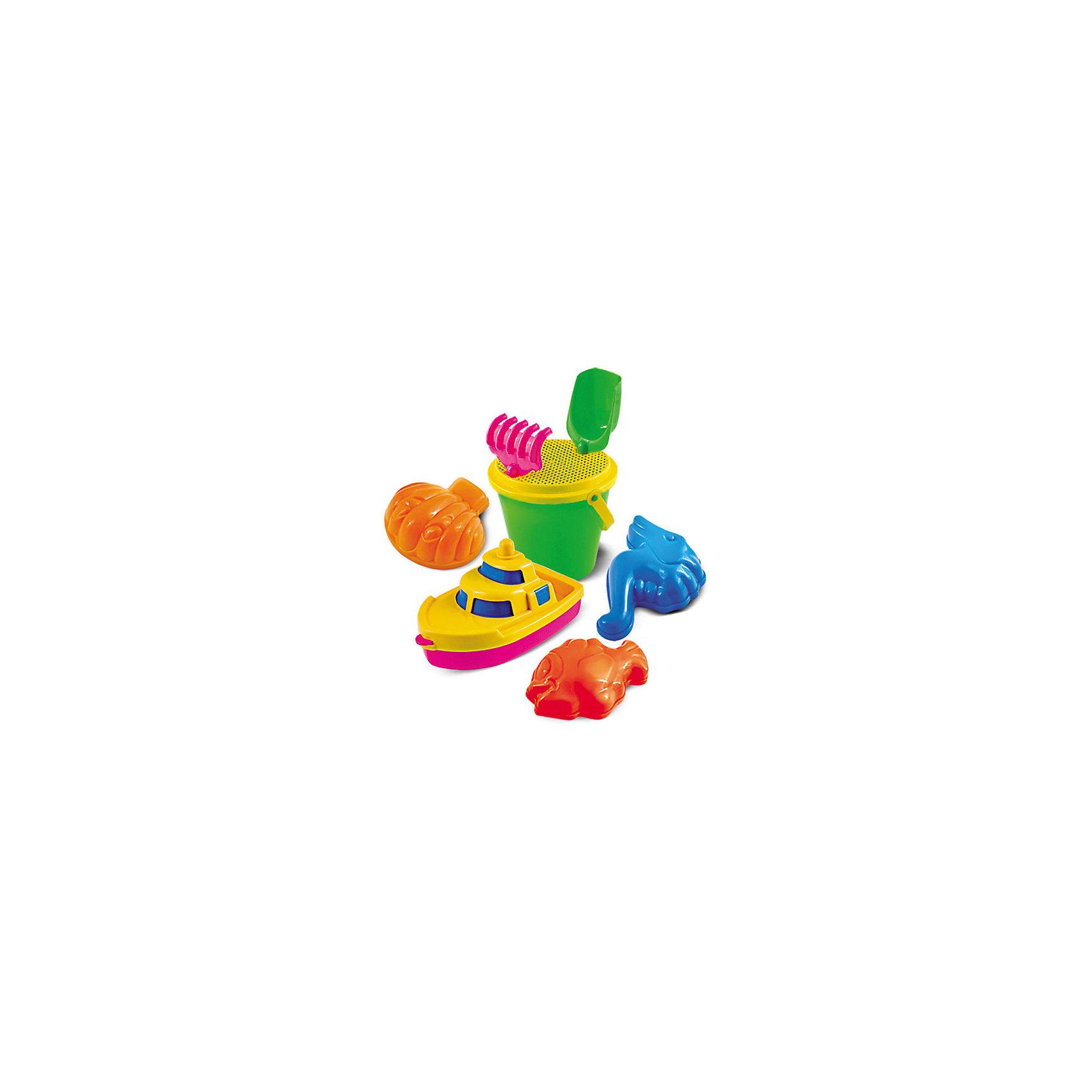 Набор для песка №63, НордпластИграем в песочнице<br>Набор для песка №63, Нордпласт – яркие, прочные игрушки сделают каждую игру вашего малыша на улице еще веселее и интереснее.<br>Набор для песка привлечет внимание каждого ребенка, ведь с яркими игрушками проводить время в песочнице или на пляже станет гораздо интереснее. Набор для игры в песочнице состоит из ярких формочек в виде ракушки, морского конька и рыбки, а также в комплект входят грабельки, совок, ведро, сито и пароходик (разбирается). Верх ведерка закрывается крышкой-ситом с креплениями для совка и грабелек. Изготовлено из пищевой пластмассы, не имеющей неприятных запахов, что обеспечивает дополнительную безопасность при их использовании детьми младших возрастов.<br><br>Дополнительная информация:<br><br>- В наборе: пароходик, формочки 3 шт., совок, грабли, ведро, сито<br>- Материал: высококачественная пластмасса<br>- Вес: 210 гр.<br><br>Набор для песка №63, Нордпласт можно купить в нашем интернет-магазине.<br><br>Ширина мм: 0<br>Глубина мм: 0<br>Высота мм: 0<br>Вес г: 210<br>Возраст от месяцев: 36<br>Возраст до месяцев: 72<br>Пол: Унисекс<br>Возраст: Детский<br>SKU: 4112737