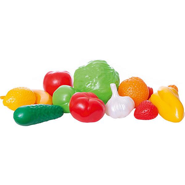 Набор Фрукты, Овощи, НордпластИгрушечные продукты питания<br>Набор Фрукты, Овощи, Нордпласт – это яркие и очень реалистичные муляжи фруктов и овощей.<br>Большой набор «Фрукты, овощи» от крупнейшего российского производителя детских игрушек из пластмассы фирмы Нордпласт – это интересный, развивающий набор высокого качества. Такой замечательный набор фруктов и овощей будет интересен и полезен как самым маленьким детишкам, которые только начинают изучать и осваивать мир вокруг себя, так и детям постарше. Набор можно использовать как вспомогательный материал для обучения счету и цветам, а также для тематической сюжетно-ролевой игры. Интересный набор с яркими детализировано проработанными фруктами и овощами, безусловно, доставит море веселья и радости Вашему ребенку. Размеры овощей фруктов приближены к натуральным. Набор абсолютно безвреден для Вашего ребенка, так как выполнен из прочной и гипоаллергенной пластмассы.<br><br>Дополнительная информация:<br><br>- В наборе: кочан капусты, сладкий перец, помидор, огурец, морковка, початок кукурузы, банан, головка чеснока, груша, апельсин, лимон, клубника, яблоко<br>- Количество предметов: 13<br>- Материал: высококачественная пластмасса<br>- Упаковка: сетка<br>- Вес: 230 гр.<br><br>Набор Фрукты, Овощи, Нордпласт можно купить в нашем интернет-магазине.<br>Ширина мм: 210; Глубина мм: 120; Высота мм: 260; Вес г: 230; Возраст от месяцев: 36; Возраст до месяцев: 72; Пол: Унисекс; Возраст: Детский; SKU: 4112740;