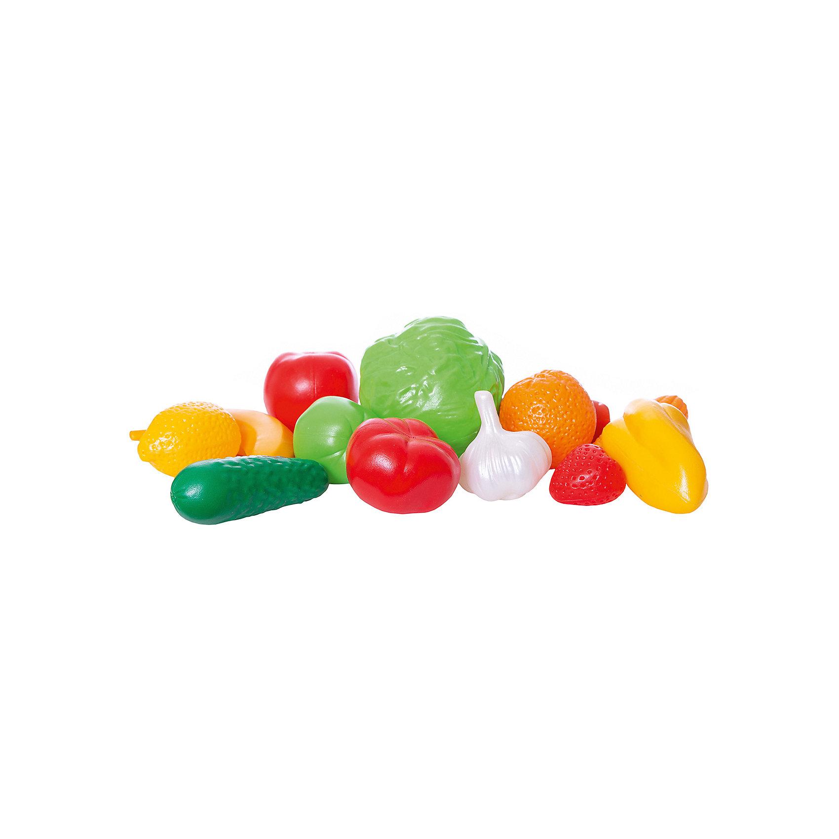 Набор Фрукты, Овощи, НордпластИгрушечные продукты питания<br>Набор Фрукты, Овощи, Нордпласт – это яркие и очень реалистичные муляжи фруктов и овощей.<br>Большой набор «Фрукты, овощи» от крупнейшего российского производителя детских игрушек из пластмассы фирмы Нордпласт – это интересный, развивающий набор высокого качества. Такой замечательный набор фруктов и овощей будет интересен и полезен как самым маленьким детишкам, которые только начинают изучать и осваивать мир вокруг себя, так и детям постарше. Набор можно использовать как вспомогательный материал для обучения счету и цветам, а также для тематической сюжетно-ролевой игры. Интересный набор с яркими детализировано проработанными фруктами и овощами, безусловно, доставит море веселья и радости Вашему ребенку. Размеры овощей фруктов приближены к натуральным. Набор абсолютно безвреден для Вашего ребенка, так как выполнен из прочной и гипоаллергенной пластмассы.<br><br>Дополнительная информация:<br><br>- В наборе: кочан капусты, сладкий перец, помидор, огурец, морковка, початок кукурузы, банан, головка чеснока, груша, апельсин, лимон, клубника, яблоко<br>- Количество предметов: 13<br>- Материал: высококачественная пластмасса<br>- Упаковка: сетка<br>- Вес: 230 гр.<br><br>Набор Фрукты, Овощи, Нордпласт можно купить в нашем интернет-магазине.<br><br>Ширина мм: 210<br>Глубина мм: 120<br>Высота мм: 260<br>Вес г: 230<br>Возраст от месяцев: 36<br>Возраст до месяцев: 72<br>Пол: Унисекс<br>Возраст: Детский<br>SKU: 4112740