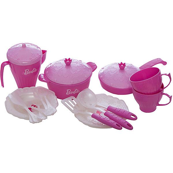 Набор кухонной и чайной посудки Барби (21 предмет), НордпластДетские кухни<br>Набор кухонной и чайной посудки Барби (21 предмет), Нордпласт – это великолепный набор, выполненный в стиле Барби.<br>Яркий набор кухонной и чайной посудки Барби - обрадует вашу малышку, с таким набором можно устроить большое чаепитие! В комплекте узорчатые блюдца, изящные кофейные чашечки, кофейник с логотипом Барби, тарелочки с изображением любимой куклы Барби, кастрюлька и сковородка с логотипом Барби, две лопатки, шумовка и 2 комплекта изящных столовых приборов. Предметы набора оформлены фактурным узором. Игрушечная посудка поможет девочке пройти важную стадию сюжетно-ролевых игр и почувствовать себя настоящей хозяйкой! Набор выполнен из качественной, не токсичной, не вызывающей аллергию и не имеющей неприятных запахов пластмассы.<br><br>Дополнительная информация:<br><br>- В наборе: 2 блюдца, 2 кофейные чашечки, кофейник с крышечкой, 2 тарелочки, кастрюлька и сковородка с крышечками, две лопатки, шумовка, 2 ложечки, 2 вилочки, 2 ножа<br>- Количество предметов: 21<br>- Материал: высококачественная пластмасса<br>- Упаковка: сетка<br>- Размер упаковки: 110х220х220 мм.<br>- Вес: 290 гр.<br><br>Набор кухонной и чайной посудки Барби (21 предмет), Нордпласт можно купить в нашем интернет-магазине.<br><br>Ширина мм: 110<br>Глубина мм: 220<br>Высота мм: 220<br>Вес г: 290<br>Возраст от месяцев: 36<br>Возраст до месяцев: 72<br>Пол: Женский<br>Возраст: Детский<br>SKU: 4112742