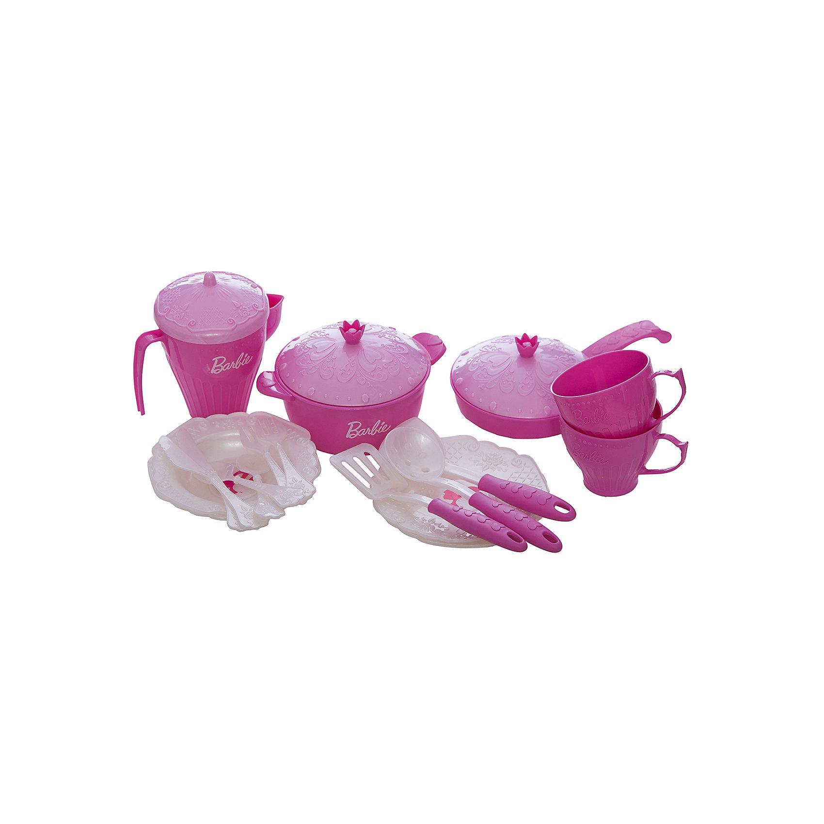Нордпласт Набор кухонной и чайной посудки Барби (21 предмет), Нордпласт нордпласт набор кухонной посудки 15 предм барби нордпласт