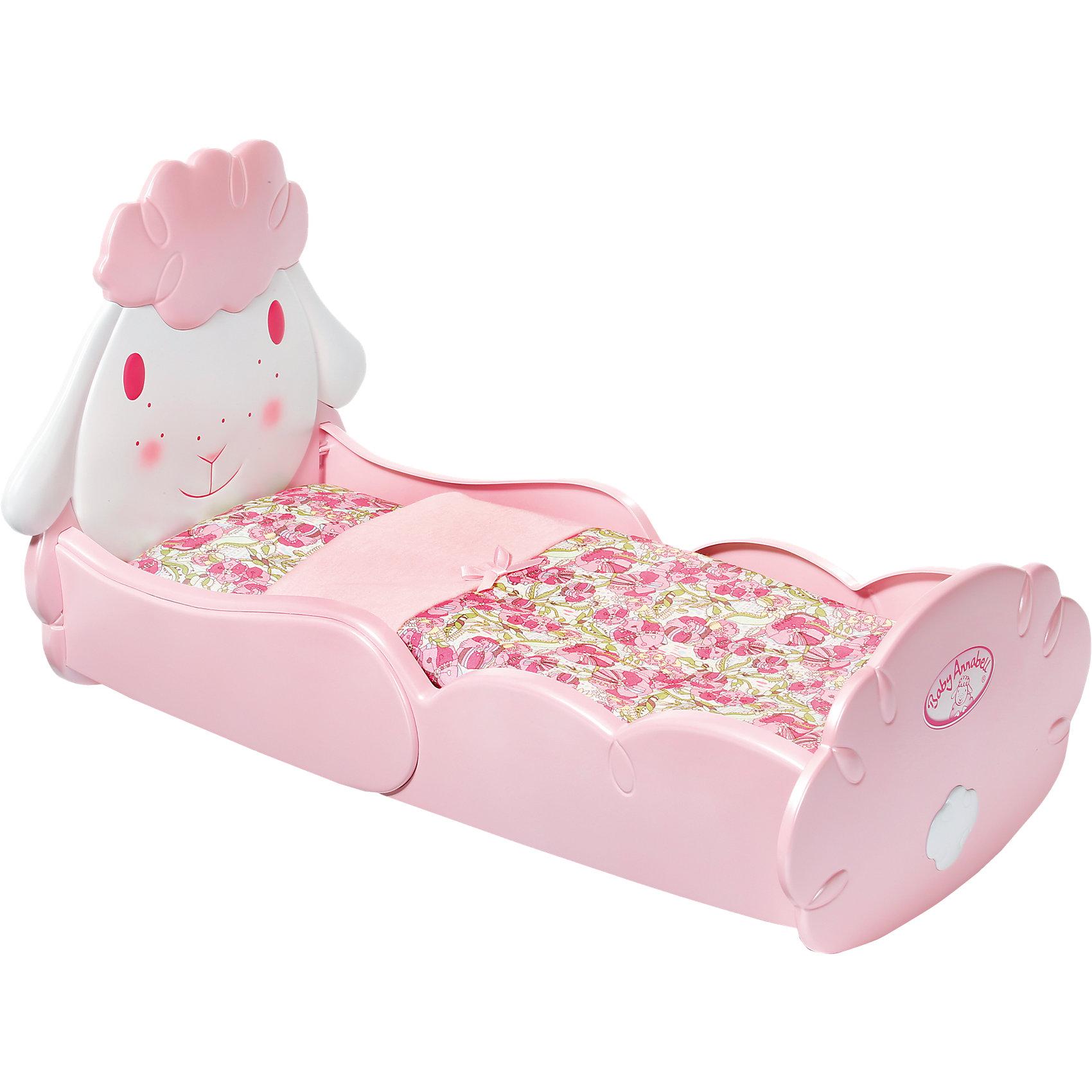 Кроватка Овечка с аксессуарами, Baby AnnabellУютная Кроватка Овечка с аксессуарами, Baby Annabell (Бэйби Аннабель) – очень стильная и нежная, как раз для маленькой куклы-принцессы. В изголовье кроватки изображена милая овечка, в кроватке лежит матрас, подушка и одеяло с цветочным принтом. Кроватку можно качать, уложив куколку спать и убаюкивать, напевая колыбельную. <br><br>Характеристики:<br>-Колыбель станет прекрасным дополнением к кукле Аннабель и коллекции других аксессуаров  «Бэйби Аннабель»<br>-Развивает: навыки ответственности, хозяйственности, фантазию, мелкую моторику, речь<br>-Кроватка в стиле Бэйби Аннабель: приятные фирменные розовые оттенки<br><br>Комплектация: кроватка, матрасик, мягкое одеяло и подушечка<br><br>Дополнительная информация:<br>-Материалы: пластик, текстиль<br>-Размеры в упаковке: 52х12х32 см<br>-Вес в упаковке: 1,8 кг<br>-Внимание! Кукла в комплект НЕ входит<br><br>Кроватка «Овечка» с аксессуарами обязательно понравится маленькой девочке, ведь в ней так удобно убаюкивать любимую куклу!<br><br>Кроватка Овечка с аксессуарами, Baby Annabell (Бэйби Аннабель) можно купить в нашем магазине.<br><br>Ширина мм: 525<br>Глубина мм: 324<br>Высота мм: 121<br>Вес г: 1153<br>Возраст от месяцев: 36<br>Возраст до месяцев: 60<br>Пол: Женский<br>Возраст: Детский<br>SKU: 4114985