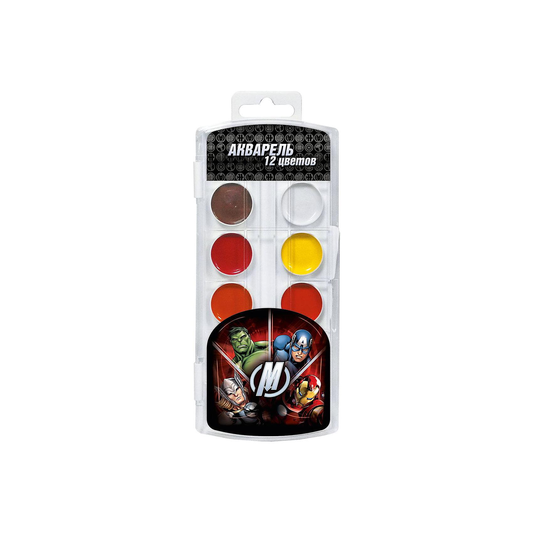 Акварельные краски Мстители 12 цветовРисование - один из самых главных методов развития творческих способностей у детей. Оно отлично развивает память, внимание, мелкую моторику и воображение. Представляем Вашему вниманию набор акварельных красок Мстители (Avengers) в удобном пластиковом чехле. 12 ярких насыщенных цветов акварели дадут Вашему юному художнику широкий простор для творчества. Краски Мстители (Avengers) - идеальны для детского творчества. Акварель безопасна, быстро сохнет и легко набирается на кисть. С их помощью ребенок создаст нежные, наполненные светом прекрасные картины.<br><br>Дополнительная информация:<br><br>- 12 ярких цветов;<br>- Состав: вода питьевая, декстрин, глицерин, сахар, органические и неорганические тонкодисперсные пигменты, консервант, наполнитель;<br>- Понравится поклонникам мультфильмов Мстители (Avengers);<br>- Удобная упаковка;<br>- Размер: 19,5 х 7,3 х 1,1 см;<br>- Вес: 81 г<br><br>Акварельные краски Мстители (Avengers) 12 цветов можно купить в нашем интернет-магазине.<br><br>Ширина мм: 195<br>Глубина мм: 73<br>Высота мм: 11<br>Вес г: 81<br>Возраст от месяцев: 36<br>Возраст до месяцев: 108<br>Пол: Мужской<br>Возраст: Детский<br>SKU: 4121022