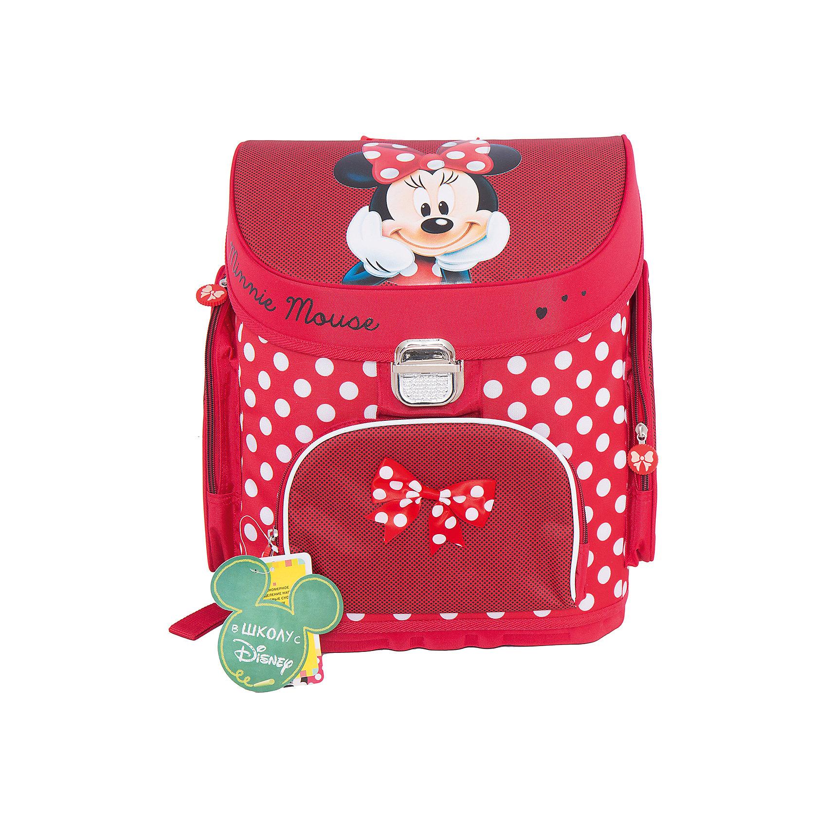 Школьный ранец Минни МаусУдобный и очень красивый ранец Минни Маус (Minnie Mouse) просто создан, чтобы раскрасить школьные будни Вашей принцессы. Компактный и вместительный, он украшен ярким горошком и изображением любимой мышки Минни! Каркасный ранец Минни Маус (Minnie Mouse) очень удобен для школьников: в основное отделение помещаются листы формата А4. Тетради и учебники никогда не помнутся в таком рюкзаке. Ребенку всегда легко будет найти в нем нужные вещи: спереди есть карман для пенала на молнии, внутри - место для ключей и личной карточки. В ранце Минни Маус (Minnie Mouse) все продумано для того, чтобы осанка ребенка не страдала при ежедневной носке портфеля: плотная спинка создана из дышащего материала, а плотные вставки из поролона помогают правильно распределять нагрузку на плечевой пояс. В темное время суток ребенка с ранцем легко заметить благодаря наличию светоотражающих элементов. Носить ранец легко и на плечах и в руке. Уплотненное дно из ЕVA материала защитит содержимое ранца от намокания. А обладательницу рюкзака особенно порадует бантик на кармашке и замечательные подвески на молнии.<br>  <br>Дополнительная информация: <br><br>- Ортопедическая спинка;<br>- Два удобных внутренних отделения;<br>- Ручка для переноски;<br>- Наружные карманы на молнии;<br>- Рюкзак сделан из износостойкого водонепроницаемого материала;<br>- Понравится поклонникам мультфильма Минни Маус (Minnie Mouse);<br>- Высота боковых карманов: 23 см;<br>- Размер: 31 х 23 х 39 см;<br>- Вес: 1,3 кг<br><br>Ранец Минни Маус (Minnie Mouse) можно купить в нашем интернет-магазине.<br><br>Ширина мм: 310<br>Глубина мм: 230<br>Высота мм: 390<br>Вес г: 1300<br>Возраст от месяцев: 36<br>Возраст до месяцев: 108<br>Пол: Женский<br>Возраст: Детский<br>SKU: 4121034