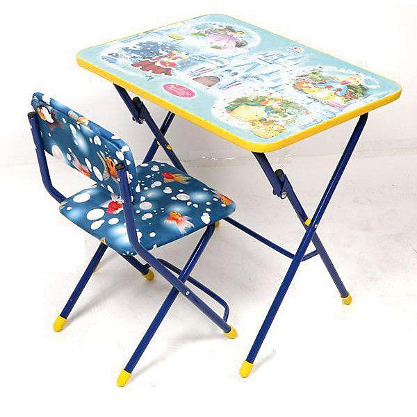 Набор мебели Волшебный мир принцессДетские столы и стулья<br>Набор детской мебели Волшебный мир принцесс состоит из складных стола и стула. Столешница облицована пленками, с различными тематическими рисунками (игра, ПДД, географическая карта , маленькая принцесса, азбука). Сиденье стульчика имеет мягкую обивку из флока ярких расцветок. На ножках стула установлены пластмассовые наконечники. <br><br>Характеристики:<br>-Цвет: синий, голубой<br>-Серия: Принцессы Диснея<br>-Тип стула: складной с мягким сиденьем<br>-Группа роста: 1,3-1,45 м<br>-Металлический каркас<br>-При хранении и транспортировке не занимает много места, собирается в плоскость до 10 см толщиной<br><br>Дополнительная информация:<br>-Размер стола: 600х450х570 мм<br>-Размеры стула: 340х300х300 мм<br>-Материалы: флок, металл<br><br>Набор детской складной мебели порадует маленьких любительниц принцесс Диснея!<br><br>Набор детской мебели Волшебный мир принцесс можно купить в нашем магазине.<br><br>Ширина мм: 740<br>Глубина мм: 620<br>Высота мм: 150<br>Вес г: 9000<br>Возраст от месяцев: 36<br>Возраст до месяцев: 120<br>Пол: Женский<br>Возраст: Детский<br>SKU: 4121120