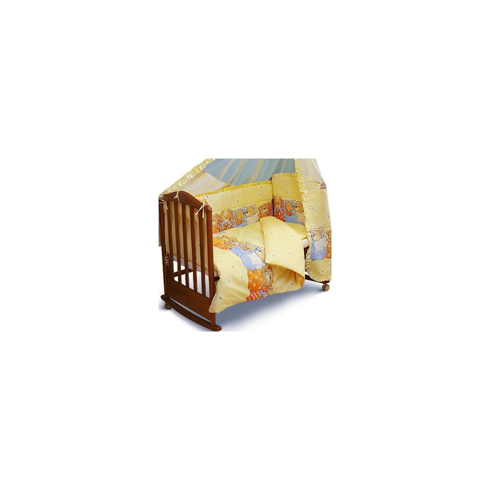 Борт Лежебоки Сонный гномик, желтыйХарактеристики:<br><br>• Вид детского текстиля: бортики для кроватки<br>• Пол: универсальный<br>• Серия: Лежебоки<br>• Тематика рисунка: медвежата<br>• Сезон: круглый год<br>• Материал: бязь, хлопок 100%<br>• Наполнитель: холлофайбер Хард<br>• Цвет: желтый, белый, синий, коричневый<br>• Размеры: 360*50 см<br>• Съемные чехлы на молнии<br>• Способ крепления к кроватке: завязки<br>• Упаковка: полиэтилен <br>• Вес в упаковке: 1 кг 195 г<br>• Особенности ухода: машинная стирка при температуре 30 градусов<br><br>Борт Лежебоки Сонный гномик, желтый от отечественного торгового бренда выполнен с учетом международных требований к качеству и безопасности товаров для детей. Комплект предназначен для детских кроваток, спальное место которых составляет не менее 120*60 см. Бортики состоят их четырех частей, выполнены из 100% хлопка с повышенными качественными характеристиками: гигроскопичные, гипоаллергенные, устойчивые к изменению цвета и формы, а также к изминанию, что наиболее важно для детского постельного белья. Все части выполнены из цельного полотна, боковые швы – закрытые, что обеспечивает их прочность и надежность. Для удобства ухода за изделием, предусмотрены съемные чехлы. Бортики выполнены в брендовом дизайне с изображением медвежат под одеялами.<br>Борт Лежебоки Сонный гномик, желтый обеспечит безопасность и комфорт для крепкого детского сна! <br><br>Борт Лежебоки Сонный гномик, желтый можно купить в нашем интернет-магазине.<br><br>Ширина мм: 650<br>Глубина мм: 140<br>Высота мм: 490<br>Вес г: 900<br>Возраст от месяцев: 0<br>Возраст до месяцев: 48<br>Пол: Унисекс<br>Возраст: Детский<br>SKU: 4122085
