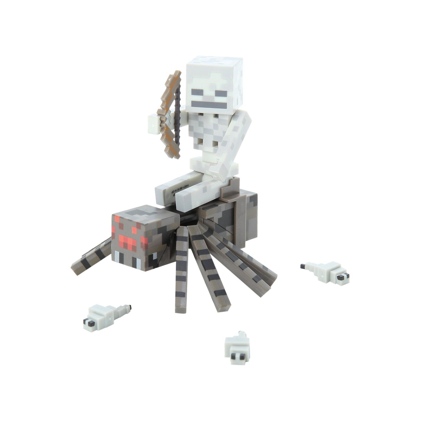 Jazwares Фигурка Скелет с Пауком, 8 см, Minecraft 3 мягкая игрушка minecraft летучая мышь bat 16536 jazwares