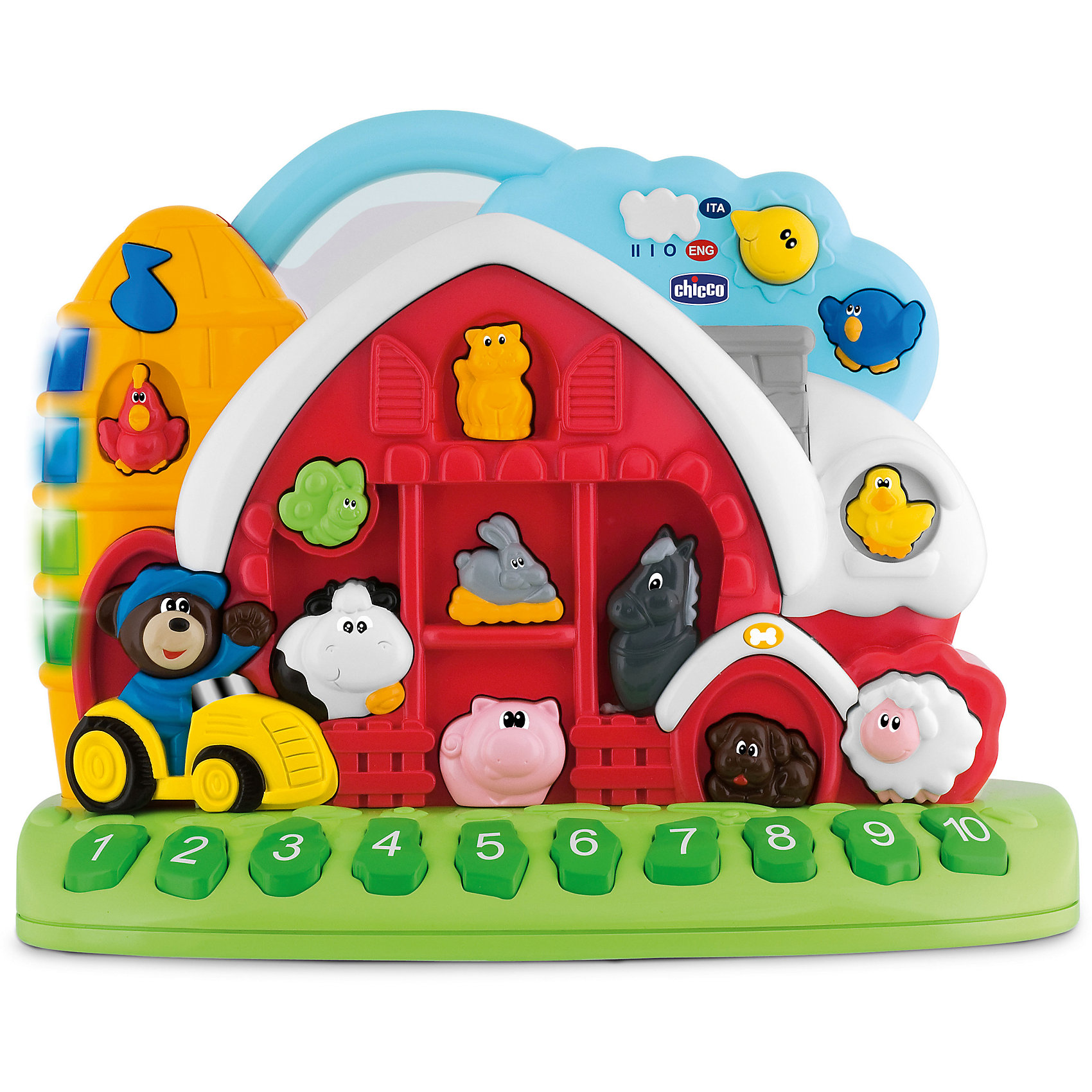 Игровой центр Говорящая ферма, Рус/Англ, ChiccoИгровой центр Говорящая ферма, Рус/Англ, Chicco (Чико) – это простой и веселый способ начать знакомство с английским языком. Игрушка научит узнавать названия разных животных, звуки, цифры и различные цвета, все это с помощью четырех игровых режимов. Постепенно ребенок сможет пробовать произносить слова, совершенствуя свои речевые навыки и память. Игрушка стимулирует воображение ребенка и способствует развитию лингвистических, ассоциативных и музыкальных навыков.<br><br>Характеристики:<br>-Все кнопки игрушки активируются, если нажать на котенка на чердаке – ребенку будут рассказаны цифры от 1 до 10 и описаны животные на ферме<br>-Кнопка мишка в синей кепке задает режим проверки знаний – ребенку задаются вопросы (например, по звуку найти животное на ферме)<br>-Игрушка работает в двух языковых режимах (русский/английский): чтобы переключится на другой язык, нужно повернуть переключатель в форме солнышка<br><br>Дополнительная информация:<br>-Размеры: 15х29х26 см<br>-Вес: 1,3 кг<br>-Материалы: пластик <br>-Батарейки: 2хАА по 1,5V (входят в комплект)<br><br>«Говорящая ферма» с животными – это простой и веселый способ начать знакомство с иностранным языком, разучивая названия животных, звуки, цвета и цифры.<br><br>Игровой центр Говорящая ферма, Рус/Англ, Chicco (Чико) можно купить в нашем магазине.<br><br>Ширина мм: 335<br>Глубина мм: 155<br>Высота мм: 286<br>Вес г: 1536<br>Возраст от месяцев: 12<br>Возраст до месяцев: 36<br>Пол: Унисекс<br>Возраст: Детский<br>SKU: 4123467