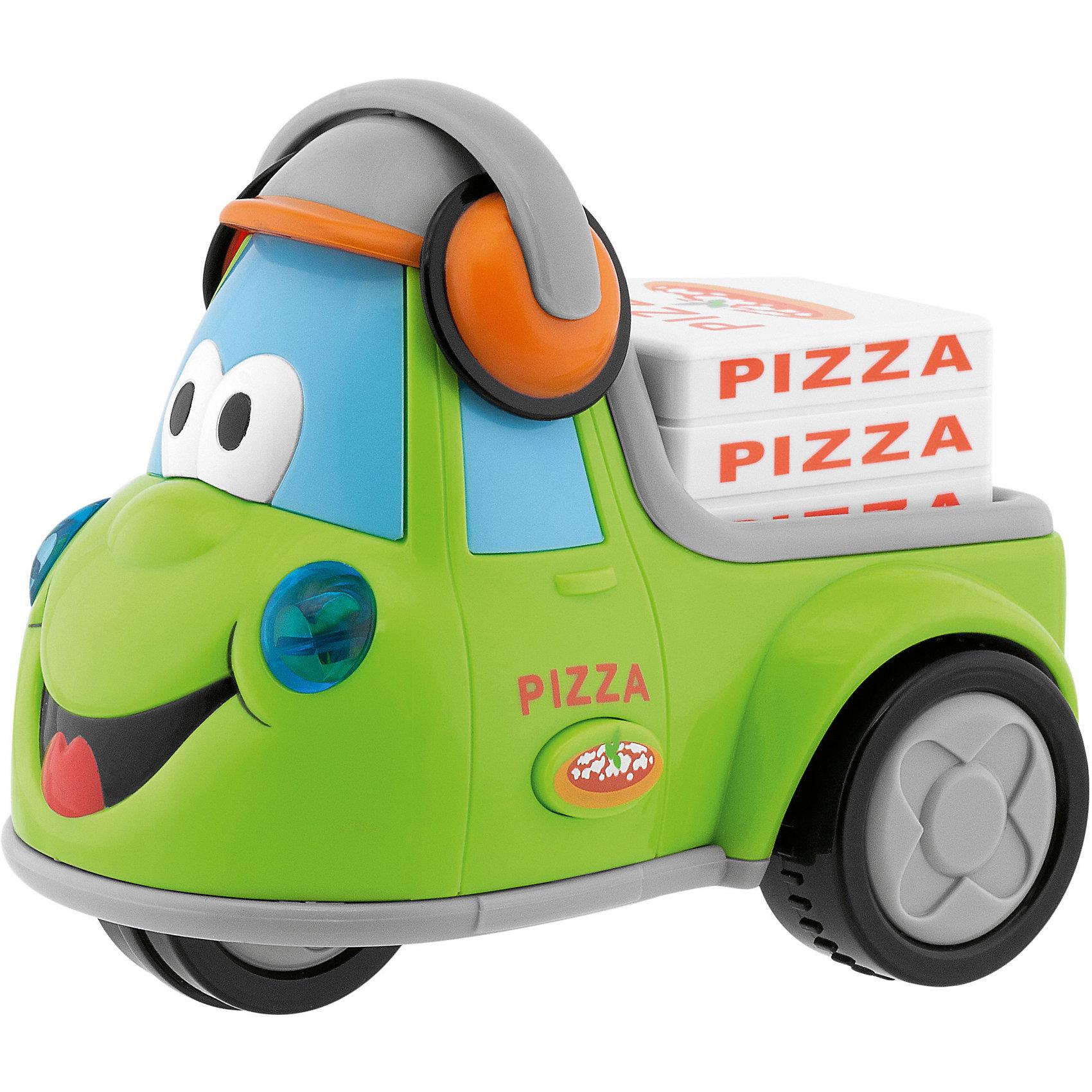 Музыкальная машинка Развозчик пиццы, ChiccoМузыкальная машинка Развозчик пиццы, Chicco (Чико) – это забавный автомобильчик с милой мордочкой и наушниками, который может ездить самостоятельно. Датчик движения активирует забавные звуковые эффекты (разгоняющейся и тормозящей машины, клаксон и др.). Если нажать на кнопку сбоку машинки, раздаются рев двигателя, веселые мелодии в стиле регги и голосовое сообщение о том, что пицца уже в пути!<br><br>Дополнительная информация:<br>-Материал: пластик<br>-Питание: 2хААА1,5V<br>-Размеры: 19х15х13 см<br><br>Порадуйте своего малыша замечательным подарком, и он часами будет играть с машинкой, придумывая различные истории!<br><br>Музыкальная машинка Развозчик пиццы, Chicco (Чико) можно купить в нашем магазине.<br><br>Ширина мм: 192<br>Глубина мм: 135<br>Высота мм: 152<br>Вес г: 466<br>Возраст от месяцев: 12<br>Возраст до месяцев: 36<br>Пол: Мужской<br>Возраст: Детский<br>SKU: 4123474