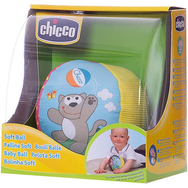 Мягкий мячик, ChiccoМузыкальные мягкие игрушки<br>Мягкий мячик, Chicco (Чико) сшит из кусочков ткани разных цветов и фактур в виде яркого полосатого мячика, оформленного изображениями в виде играющего котика. Рассматривая и ощупывая его поверхность, ребенок развивает тактильное восприятие, учится различать и сравнивать цвета. Он легкий и мягкий, поэтому малышу будет удобно хватать, катать и бросать. Если его немного потрясти, то он будет греметь, благодаря шарикам, которые находятся внутри. <br><br>Дополнительная информация:<br>-Материалы: текстиль<br>-Размеры:  9х9х9 см<br><br>Развивающая игрушка «Мягкий мячик» станет отличным подарком для каждого малыша!<br><br>Мягкий мячик, Chicco (Чико) можно купить в нашем магазине.<br>Ширина мм: 140; Глубина мм: 105; Высота мм: 149; Вес г: 140; Возраст от месяцев: 3; Возраст до месяцев: 18; Пол: Унисекс; Возраст: Детский; SKU: 4123475;