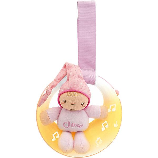 Подвеска для кроватки Спокойной ночи, луна, розовая, ChiccoИгрушки для новорожденных<br>Подвеска для кроватки Спокойной ночи, луна, розовая, Chicco (Чико) представляет собой мягконабивную игрушку – малышки в розовом комбинезончике, сидящей на луне! Огоньки на подвеске загораются и переливаются в такт колыбельной музыке. Мягкое свечение позволяет быстрее окунуться в мир сна Вашей девочке.<br><br>Характеристики:<br>-Звуковые и световые эффекты, длительностью пять минут<br>-Музыка: нежные колыбельные мелодии (Бах, Бетховен)<br>-Два режима: музыка и свет/только свет<br>-Легкое крепление на бортик кроватки удобным регулируемым ремешком<br>-Развивает: визуальное, звуковое и тактильное восприятие, координация зрения и движений, хватательный рефлекс, логика<br><br>Дополнительная информация:<br>-Цвет: розовый<br>-Материалы: пластик, полиэстер, текстиль<br>-Питание – 2 батарейки типа ААА (в комплект НЕ входят)<br>-Размеры игрушки: 15х14х5 см<br>-Длина ленточки: 15 см<br><br>Подвеска для кроватки «Спокойной ночи, луна» удобна и в качестве развивающей музыкальной игрушки, и в качестве ночника с нежным светом. <br><br>Подвеска для кроватки Спокойной ночи, луна, розовая, Chicco (Чико) можно купить в нашем магазине.<br><br>Ширина мм: 248<br>Глубина мм: 200<br>Высота мм: 132<br>Вес г: 330<br>Цвет: розовый<br>Возраст от месяцев: 0<br>Возраст до месяцев: 18<br>Пол: Женский<br>Возраст: Детский<br>SKU: 4123480