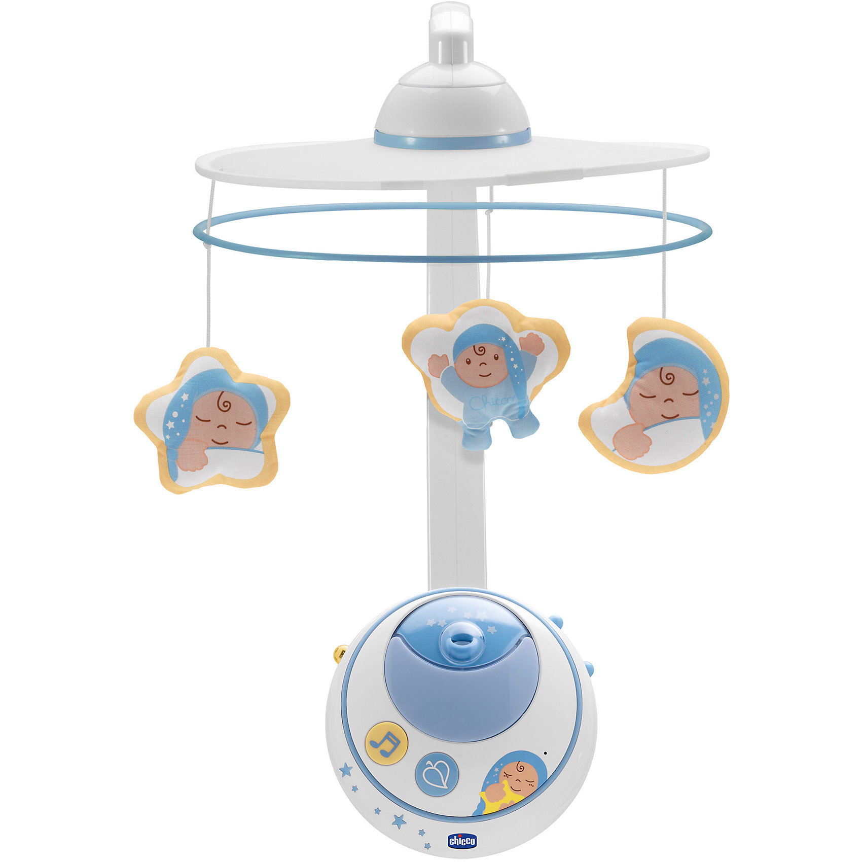 Мобиль Волшебные звезды, голубой, с д/у, ChiccoМобили<br>Мобиль Волшебные звезды, голубой, с д/у, Chicco (Чико) проецирует изображения красочных звезд и планет в то время как забавные персонажи кружатся под нежные успокаивающие мелодии, создавая волшебную атмосферу в спальне ребенка. Мобиль оснащен звуковым сенсором: стоит ребенку заплакать и подвеска включится автоматически, что очень удобно для мамы в ночное время.<br><br>Характеристики:<br>-Цвет: голубой<br>-Проигрыватель с музыкой в двух стилях (классическим и современном)<br>-Два четких проекционных изображения (на свои части и на потолок)<br>-Звуковой сенсор для автоматического включения от плача ребенка<br>-Удобные кнопки управления инфракрасный пульт дистанционного управления<br>-18 минут проекции и музыки<br>-Функции ночника, проектора ночного звездного неба, музыкальной карусели с игрушками<br><br>Дополнительная информация:<br>-Материалы: пластик, полипропилен<br>-Питание: 2 батарейки типа АА (в комплект НЕ входят)<br><br>Благодаря великолепной системе проецирования изображений подвеска-мобиль Волшебные звезды подарит малышу комфорт, спокойствие и крепкий сон!<br><br>Мобиль Волшебные звезды, голубой, с д/у, Chicco (Чико) можно купить в нашем магазине.<br><br>Ширина мм: 360<br>Глубина мм: 148<br>Высота мм: 520<br>Вес г: 2252<br>Возраст от месяцев: 0<br>Возраст до месяцев: 18<br>Пол: Мужской<br>Возраст: Детский<br>SKU: 4123483