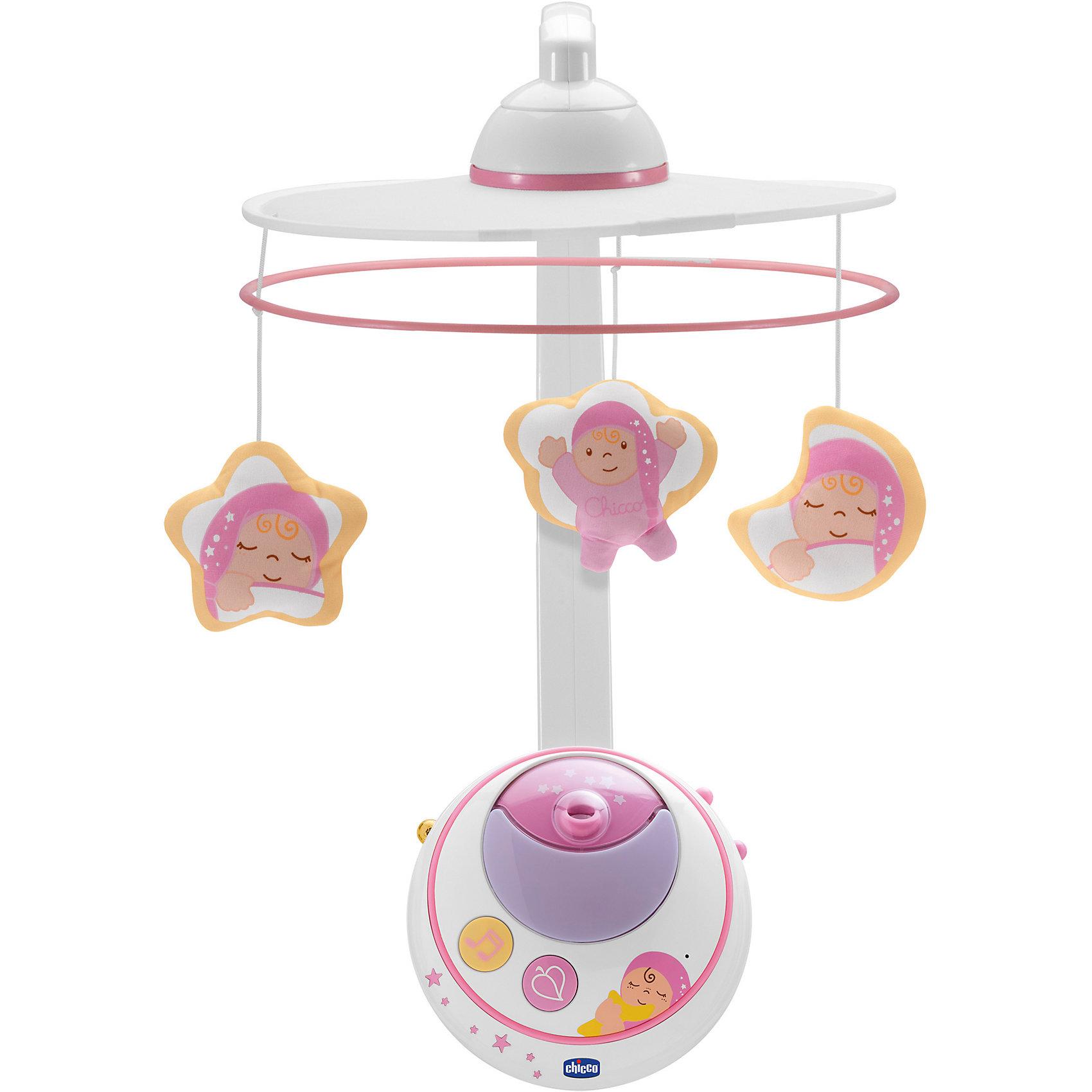 Мобиль Волшебные звезды, розовый, с д/у, ChiccoМобили<br>Мобиль Волшебные звезды, розовый, с д/у, Chicco (Чико) проецирует изображения красочных звезд и планет в то время как забавные персонажи кружатся под нежные успокаивающие мелодии, создавая волшебную атмосферу в спальне ребенка. Мобиль оснащен звуковым сенсором: стоит ребенку заплакать и подвеска включится автоматически, что очень удобно для мамы в ночное время.<br><br>Характеристики:<br>-Цвет: розовый<br>-Проигрыватель с музыкой в двух стилях (классическим и современном)<br>-Два четких проекционных изображения (на свои части и на потолок)<br>-Звуковой сенсор для автоматического включения от плача ребенка<br>-Удобные кнопки управления инфракрасный пульт дистанционного управления<br>-18 минут проекции и музыки<br>-Функции ночника, проектора ночного звездного неба, музыкальной карусели с игрушками<br><br>Дополнительная информация:<br>-Материалы: пластик, полипропилен<br>-Питание: 2 батарейки типа АА (в комплект НЕ входят)<br><br>Благодаря великолепной системе проецирования изображений подвеска-мобиль Волшебные звезды подарит малышу комфорт, спокойствие и крепкий сон!<br><br>Мобиль Волшебные звезды, розовый, с д/у, Chicco (Чико) можно купить в нашем магазине.<br><br>Ширина мм: 360<br>Глубина мм: 148<br>Высота мм: 520<br>Вес г: 2249<br>Возраст от месяцев: 0<br>Возраст до месяцев: 18<br>Пол: Женский<br>Возраст: Детский<br>SKU: 4123484