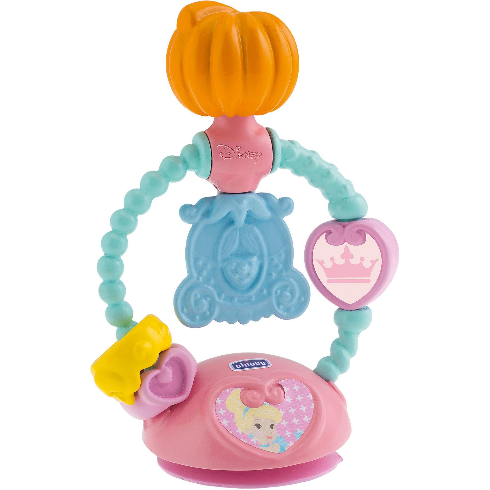 Игрушка для стульчика Золушка, ChiccoПринцессы Дисней<br>Игрушка для стульчика Золушка, Chicco (Чико) прекрасно развивает мелкую моторику и координацию движений рук, а с Золушкой это еще и так весело! Малышке будет интересно вращать часики, перемещать вверх-вниз корону и кольцо, вертеть тыкву и карету, которые издают звенящие звуки. Благодаря практичной присоске игрушка надежно крепится на стульчике для кормления.<br><br>Дополнительная информация:<br>-Материалы: пластик<br><br>Игрушка для стульчика Золушка, Chicco (Чико) можно купить в нашем магазине.<br><br>Ширина мм: 166<br>Глубина мм: 229<br>Высота мм: 83<br>Вес г: 124<br>Возраст от месяцев: 6<br>Возраст до месяцев: 36<br>Пол: Женский<br>Возраст: Детский<br>SKU: 4123490