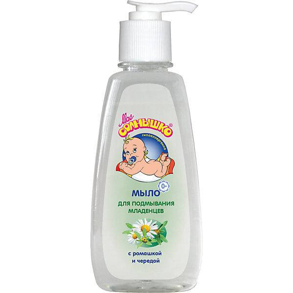 Мыло для подмывания младенцев 200 мл, Моё солнышкоМыло для детей<br>Мыло для подмывания младенцев Мое солнышко 200 мл, – подходит для детей с первых дней жизни. Бережно очищает чувствительную кожу малыша, не раздражает слизистую, оказывает успокаивающее и противовоспалительное действие. Рекомендовано для использования перед сменой подгузника и перед сном.<br>Ширина мм: 65; Глубина мм: 50; Высота мм: 180; Вес г: 220; Возраст от месяцев: 0; Возраст до месяцев: 24; Пол: Унисекс; Возраст: Детский; SKU: 4124455;