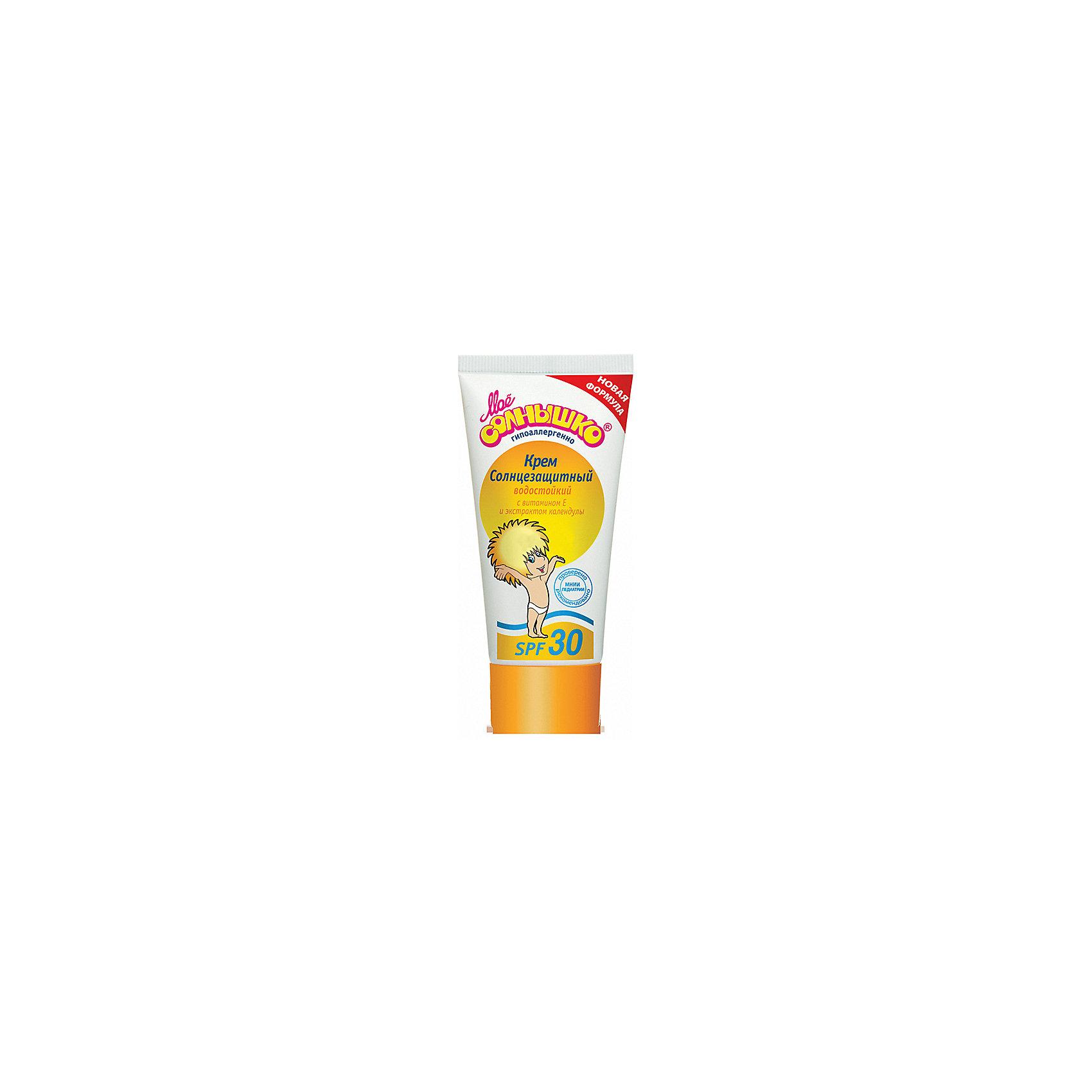 Солнцезащитный крем SPF +30, 55 мл, Моё солнышкоСредства защиты от солнца и насекомых<br>Мое солнышко Крем детский солнцезащитный SPF 30 (55 мл), — солнцезащитный крем с фактором защиты 30 для детей от 3 месяцев. Содержит UVA/UVB-фильтры, ухаживающие увлажняющие кожу компоненты: экстракт календулы, витамин Е.<br><br>Ширина мм: 55<br>Глубина мм: 30<br>Высота мм: 115<br>Вес г: 65<br>Возраст от месяцев: 3<br>Возраст до месяцев: 36<br>Пол: Унисекс<br>Возраст: Детский<br>SKU: 4124466