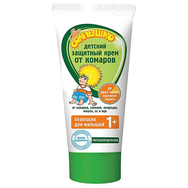 Защитный крем от комаров 50 мл, Моё солнышкоКосметика для малыша<br>Детский крем от комаров защитный Моё солнышко разработан специально для детей. Специальная формула эффективно защищает от комаров, слепней и других летающих насекомых (москитов, мокрецов, мошет, а также мух и ос). Безопасный состав подходит для малышей от 1 года. Обладает мягким приятным запахом.<br>Ширина мм: 78; Глубина мм: 25; Высота мм: 85; Вес г: 90; Возраст от месяцев: 12; Возраст до месяцев: 36; Пол: Унисекс; Возраст: Детский; SKU: 4124471;