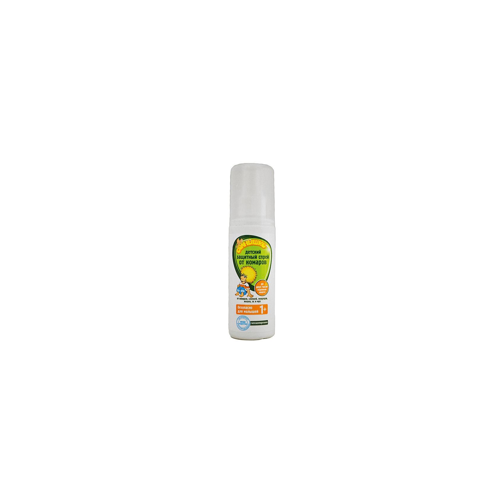 Защитный спрей от комаров, Моё солнышкоДетский защитный спрей от комаров Мое солнышко - надежная защита о комаров, слепней, мокрецов, мошек, ос и мух до двух часов. Спрей разработан специально для детей. Эффективно защищает от комаров, слепней и других летающих насекомых. Безопасный для ребенка состав подходит даже для малышей от 1 года. Не оставляет жирных следов на одежде. Обладает мягким запахом.<br><br>Ширина мм: 40<br>Глубина мм: 40<br>Высота мм: 144<br>Вес г: 120<br>Возраст от месяцев: 12<br>Возраст до месяцев: 36<br>Пол: Унисекс<br>Возраст: Детский<br>SKU: 4124472