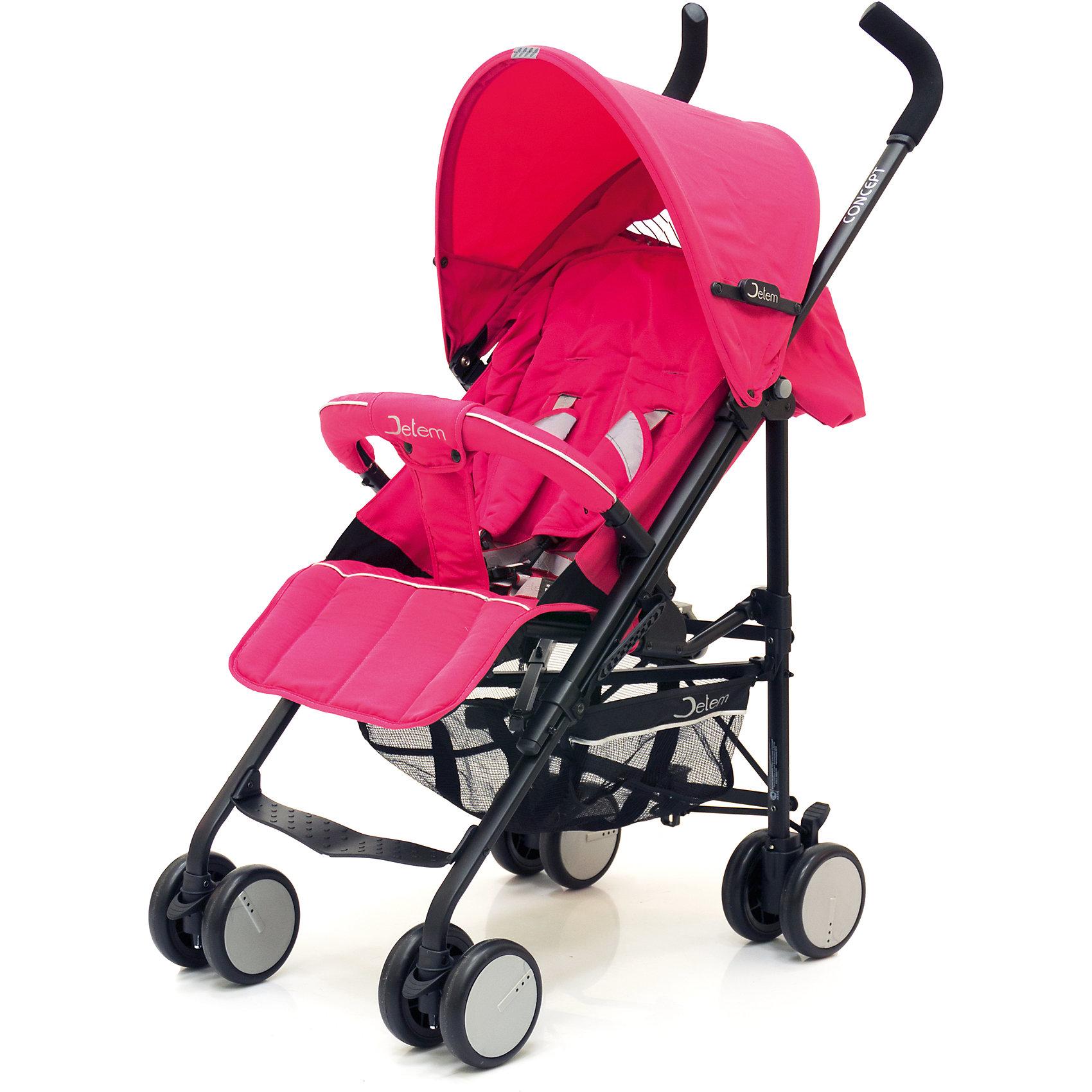 Коляска-трость Concept, Jetem, розовыйКоляска-трость Concept (Концепт), Jetem (Жэтэм), розовый – современная, легкая и прочная коляска с европейским дизайном. Она идеальна для прогулок и поездок за город в теплое время года. Большой капюшон со смотровым окном опускается почти до бампера, надежно закрывая малыша от ветра и осадков в непогоду и лучей яркого солнца. Благодаря четырем парам сдвоенных колес, передние из которых поворотные с блокировкой, коляска отличается маневренностью, устойчивостью и легкостью управления. <br><br>Характеристики:<br>-Тип: прогулочная<br>-Цвет: розовый<br>-Очень широкое и длинное спальное место<br>-Плотная спинка раскладывается в 3-х положениях до 170 градусов<br>-5-ти точечные ремни безопасности<br>-Мягкие наплечники на ремнях безопасности со светоотражающими строчками<br>-Съемный барьер-бампер<br>-Регулируемая верхняя подножка удлиняет спальное место коляски<br>-Плавающие передние колеса имеют фиксатор<br>-Непромокаемые гипоаллергенные ткани<br>-Тип колес: сдвоенные<br>-Механизм складывания: трость<br>-Облегченная алюминиевая рама<br>-Легкое складывание и компактность  <br><br>Комплектация: корзина для покупок, дождевик с перфорацией для воздуха, чехол для ножек<br><br>Дополнительная информация:<br>-Диаметр колес: 12, 5 см<br>-Спальное место: 34х64 см<br>-Вес коляски: 8,4 кг<br>-Материалы: текстиль, алюминий, пластик<br>-Расстояние до сиденья от пола: 40 см<br>-Размеры в сложенном виде: 25х100 см<br>-Диаметр колес: 14,5 см<br>-Ширина колесной базы: 48 см<br><br>Покупка коляски Concept (Концепт), Jetem (Жэтэм), розовый – это верное решение современных мам, которые ценят комфорт малыша, а также его удобство!<br><br>Коляска-трость Concept (Концепт), Jetem (Жэтэм), розовый можно купить в нашем магазине.<br><br>Ширина мм: 1000<br>Глубина мм: 280<br>Высота мм: 200<br>Вес г: 9300<br>Возраст от месяцев: 6<br>Возраст до месяцев: 36<br>Пол: Унисекс<br>Возраст: Детский<br>SKU: 4125344