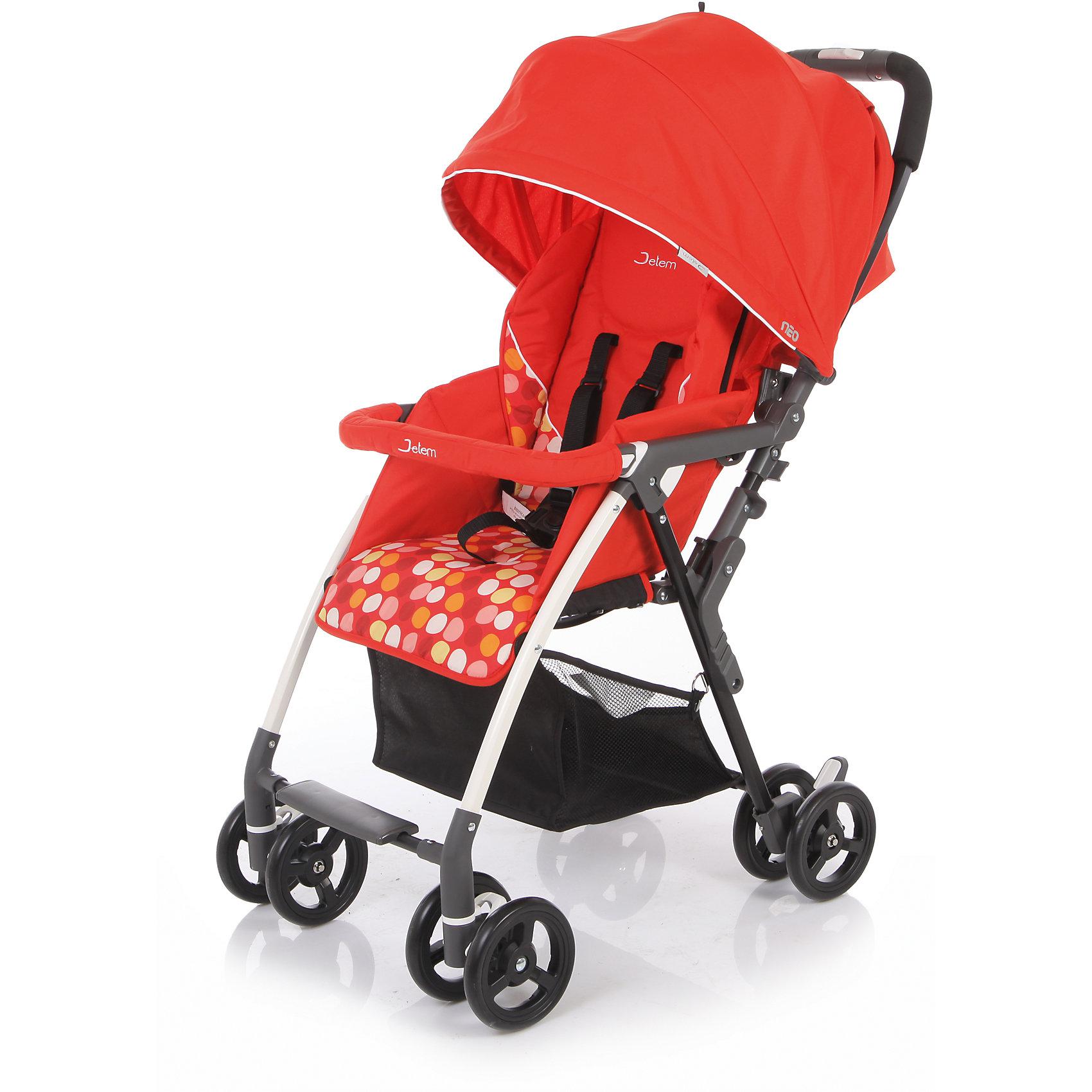 Прогулочная коляска Neo, Jetem, красныйПрогулочные коляски<br>Легкая и маневренная Прогулочная коляска Neo (Нео), Jetem (Жэтэм), красный будет очень удобна для весенне-летнего периода и путешествий с ребенком. Большой капюшон со смотровым окном опускается почти до бампера, надежно закрывая малыша от ветра и осадков в непогоду и лучей яркого солнца. Высота спинки регулируется плавно с помощью ремней. Коляску можно легко сложить одной рукой. <br><br>Характеристики:<br>-Тип коляски: прогулочная<br>-Цвет: красный<br>-Легкая алюминиевая рама<br>-Плавающие передние колеса с фиксацией<br>-5-ти точеные ремни безопасности<br>-Съемный бампер со съемной мягкой обивкой<br>-Может стоять в сложенном состоянии<br>-Спинка регулируется при помощи ремней до положения «лежа»<br>-Ножная тормозная система<br>-Тип колес: двойные<br>-Механизм складывания: книжка<br>-Глубокий капюшон хорошо защищает от солнца, осадков <br><br>Комплектация: чехол на ноги, корзина для покупок<br> <br>Дополнительная информация:<br>-Диаметр колес: 15,3 см<br>-Вес: 5,0 кг<br>-Ширина сиденья: 33 см<br>-Размер в разложенном виде: 86х48,5х97 см<br>-Размер в сложенном виде: 36х48,5х90,5 см<br>-Материалы: пластик, алюминий, текстиль<br><br>Покупка коляски Neo (Нео), Jetem (Жэтэм), красный – это верное решение современных мам, которые ценят комфорт малыша, а также его удобство!<br><br>Прогулочная коляска Neo (Нео), Jetem (Жэтэм), красный можно купить в нашем магазине.<br><br>Ширина мм: 870<br>Глубина мм: 460<br>Высота мм: 290<br>Вес г: 6800<br>Возраст от месяцев: 6<br>Возраст до месяцев: 36<br>Пол: Унисекс<br>Возраст: Детский<br>SKU: 4125350