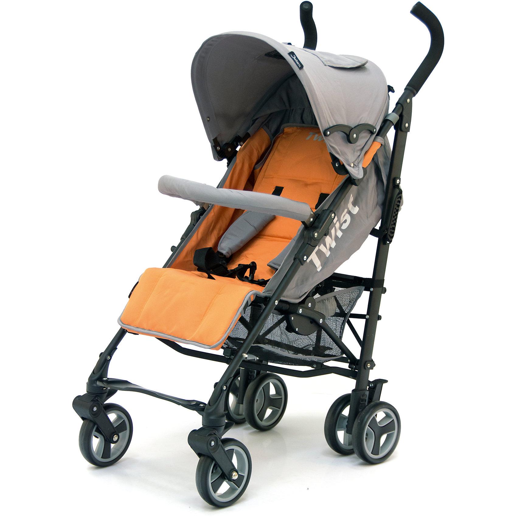 Коляска-трость Twist, Jetem, оранжевый/серыйСтильная и современная Коляска-трость Twist (Твист), Jetem (Жэтэм), оранжевый/серый представляет собой легкую, маневренную коляску для активных родителей и их детей. Данная модель имеет просторное посадочное место, благодаря чему ребенку будет в ней комфортно и свободно! Спинка и подножка регулируются в 3 положениях, а большой капюшон со смотровым окошком может опускаться почти до бампера, что позволит крохе поспать в любую погоду. Маневренность и плавность хода коляске придают поворотные передние колеса, которые при необходимости можно зафиксировать. <br><br>Характеристики: <br>-Сезонность: летняя<br>-Тип: прогулочная<br>-Цвет: оранжевый/серый<br>-Механизм складывания: трость <br>-Комфортное большое посадочное и спальное место<br>-Съемный бампер с мягкой обивкой<br>-Регулируемый наклон спинки (3 положения)<br>-Встроенные ремни безопасности<br>-Регулируемая подножка (3 положения)<br>-Передние колеса поворотные с возможностью фиксации<br>-Задние колеса сдвоенные<br>-Ножной тормоз на задней оси<br>-Большой опускающийся до бампера капюшон со смотровым окошком<br>-Встроенные 5-титочечные ремни безопасности с мягкими плечевыми накладками<br>-Облегченная рама из алюминиевого профиля<br><br>Комплектация: чехол на ножки, дождевик, корзина для покупок<br><br>Дополнительная информация:<br>-Диаметр колес: 12 см <br>-Материалы: плотная резина, текстиль, алюминий<br>-Вес: 9 кг <br>-Размеры: 50х40х90 см <br>-Размер спального места: 29х20х40 см<br>-Ширина шасси: 50 см<br><br>Коляска-трость Twist (Твист), Jetem (Жэтэм), оранжевый/серый – это современная, стильная модель, которая сочетает в себе качество, комфорт и безопасность!<br><br>Коляска-трость Twist (Твист), Jetem (Жэтэм), оранжевый/серый можно купить в нашем магазине.<br><br>Ширина мм: 980<br>Глубина мм: 250<br>Высота мм: 230<br>Вес г: 10000<br>Возраст от месяцев: 6<br>Возраст до месяцев: 36<br>Пол: Унисекс<br>Возраст: Детский<br>SKU: 4125361