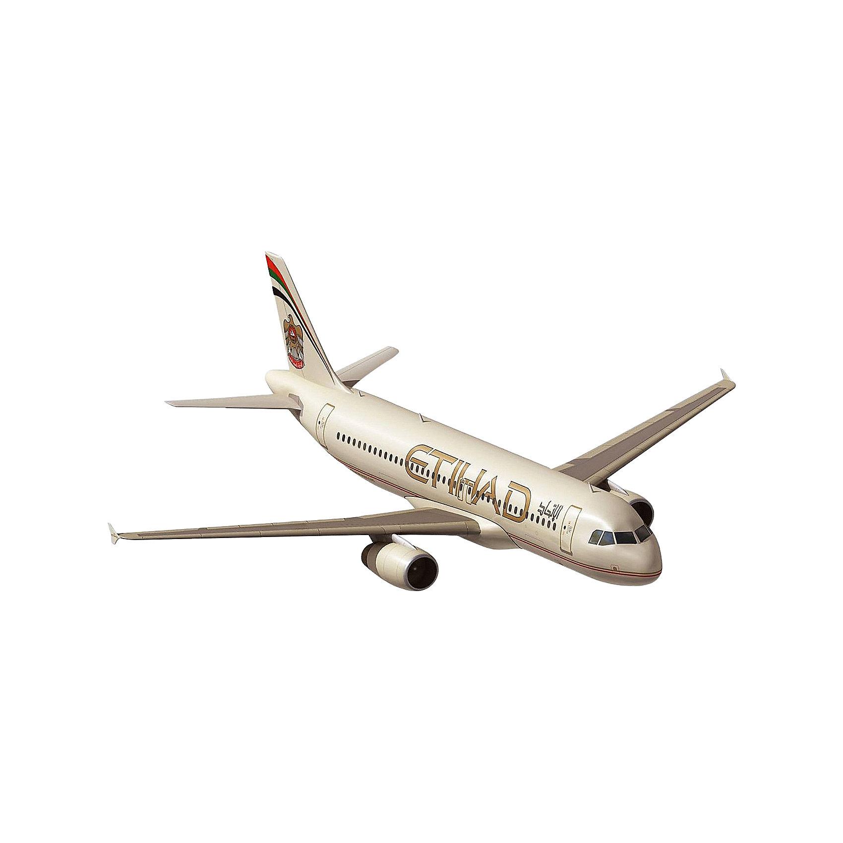 Самолет Airbus A320 EtihadМодели для склеивания<br>Обновленная модель пассажирского лайнера Airbus 320 от Ревелл. На этот раз с ливреей авиакомпании Etihad Airways (ОАЭ).  <br>Модель выполнена в классическом для гражданской авиации масштабе 1:144. Материал – пластик. Для склеивания деталей отлично подойдет клей для пластика от Ревелл. Собранную модель рекомендуется красить акриловыми или эмалевыми красками.  <br>В комплекте присутствует декаль для создания ливреи Etihad Airways. Декаль следует наносить на высохшую краску. Для лучшего результата наносить декали рекомендуется на глянцевую поверхность. Результат следует защищать лаком.<br>Расходные материалы в набор не входят. Их необходимо приобрести отдельно. <br>Масштаб модели 1/144 <br>Длина модели в собранном виде: 26 сантиметров <br>Размах крыльев: 23 сантиметров <br>Количество деталей: 60 <br>Модель рекомендуется для взрослых и детей в возрасте от 12 лет.<br><br>Ширина мм: 353<br>Глубина мм: 215<br>Высота мм: 48<br>Вес г: 236<br>Возраст от месяцев: 168<br>Возраст до месяцев: 228<br>Пол: Мужской<br>Возраст: Детский<br>SKU: 4125560