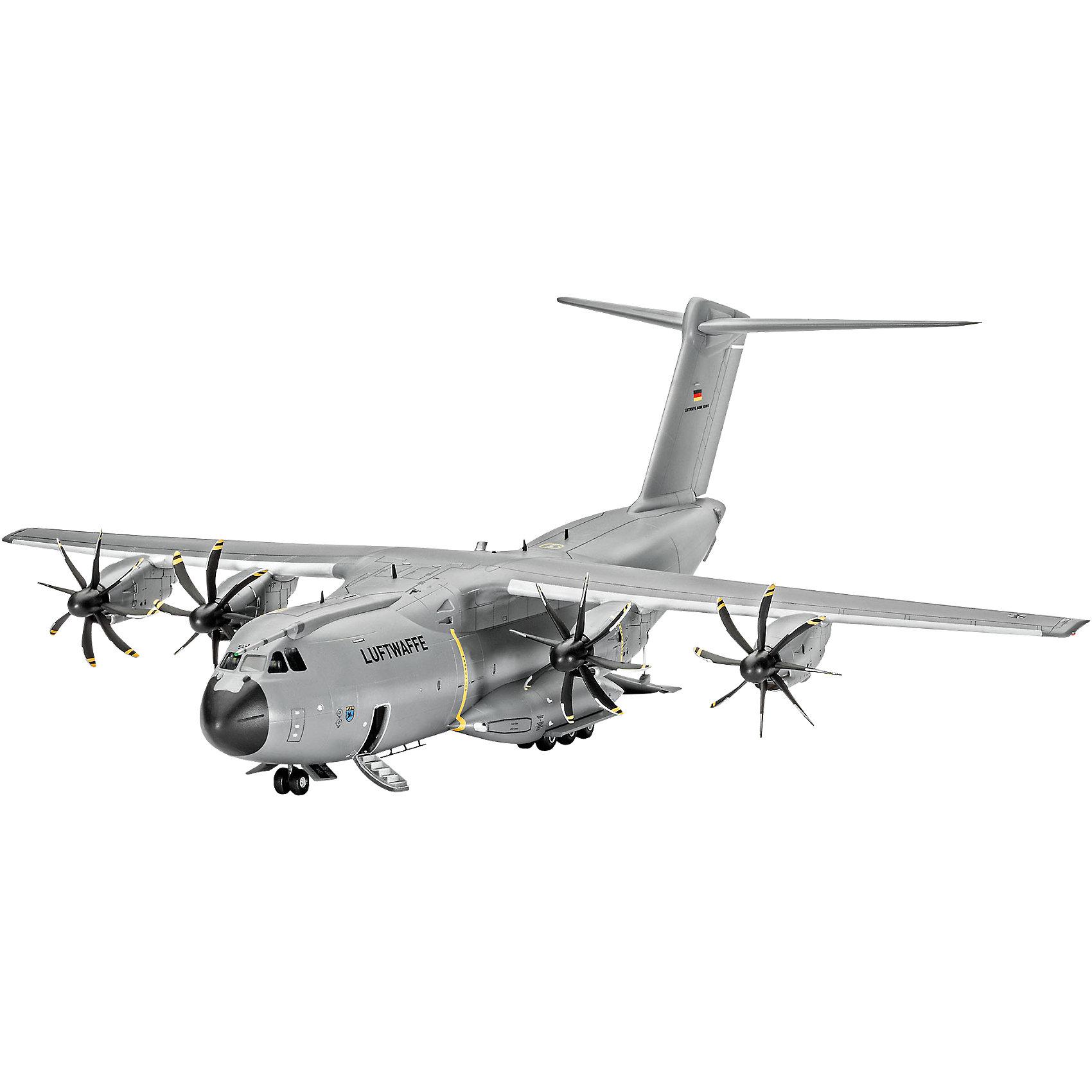 Самолет военно-транспортный Airbus A400 M AtlasМодели для склеивания<br>Характеристики товара:<br><br>• возраст: от 10 лет;<br>• цвет: белый;<br>• масштаб: 1:44;<br>• количество деталей: 120 шт;<br>• материал: пластик; <br>• клей и краски в комплект не входят;<br>• длина модели: 31,3 см;<br>• размах крыльев: 29,4 см;<br>• бренд, страна бренда: Revell (Ревел), Германия;<br>• страна-изготовитель: Корея.<br><br>Сборная модель «Самолет военно-транспортный Airbus A400 M Atlas» поможет вам и вашему ребенку собрать точную копию реального военно-транспортного самолета, выполненную в масштабе 1:44 из высококачественного пластика.<br><br>Самолет A400M был разработан относительно недавно, стоимость проекта превысила 20 млрд евро. На начало 2008 года был запланирован его первый полет, однако его неоднократно переносили, и он состоялся только в декабре 2009 года. Главные задачи самолета: переброска войск, а также грузов.<br><br>В комплект набора для склеивания и раскрашивания входит 120 пластиковых деталей, а также подробная иллюстрирована инструкция. Обращаем ваше внимание на тот факт, что для сборки этой модели клей и краски в комплект не входят. <br><br>Моделирование — это очень увлекательное и полезное занятие, которое по достоинству оценят не только дети, но и взрослые, увлекающиеся военной техникой. Сборка моделей поможет ребенку развить воображение, мелкую моторику ручек и логическое мышление.<br><br>Сборную модель «Самолет военно-транспортный Airbus A400 M Atlas», 120 дет., Revell (Ревел) можно купить в нашем интернет-магазине.<br><br>Ширина мм: 540<br>Глубина мм: 210<br>Высота мм: 73<br>Вес г: 557<br>Возраст от месяцев: 144<br>Возраст до месяцев: 192<br>Пол: Мужской<br>Возраст: Детский<br>SKU: 4125566