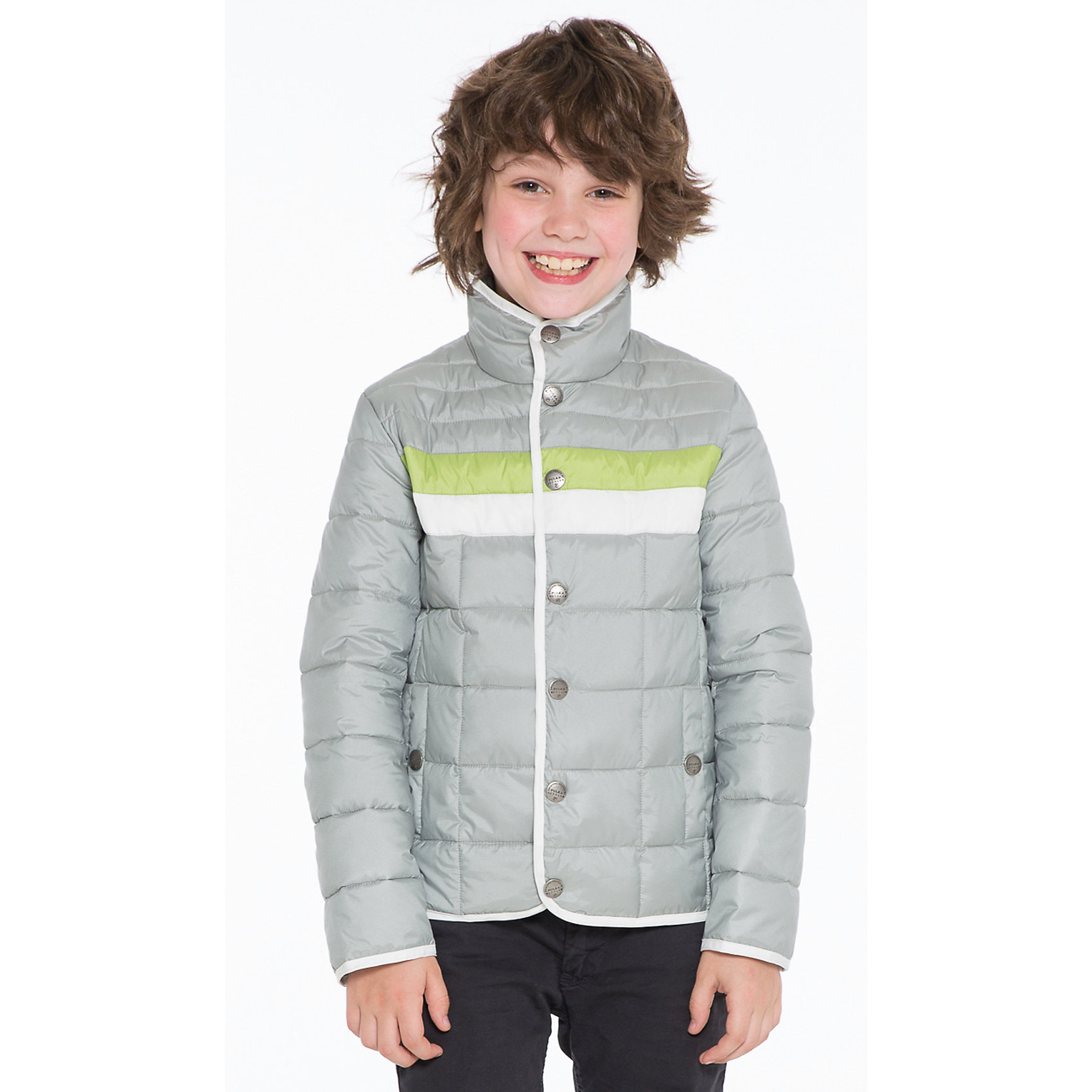 Куртка для мальчика PulkaВерхняя одежда<br>Куртка для мальчика Pulka (Пулка) отличается своей практичностью, ведь она создана дизайнерами, которые прекрасно понимают как потребности детей, так и родителей. Это прекрасная куртка для мальчика с длинным рукавом и воротником стойка, на кнопках, с двумя карманами по бокам. Верхний слой куртки создан на основе водо- и грязеотталкивающего покрытия, воротник и манжеты на рукавах защитит ребенка в непогоду.<br>Отличное сочетание цветов позволит вашему ребенку почувствовать себя самым модным.<br><br>Дополнительная информация:<br>-Сезон: осень-весна<br>-Материалы: 100 % полиэстер<br><br>Куртка для мальчика Pulka (Пулка) – это выбор тех, кто ценит не только тепло и комфорт, но долговечность и высокое качество одежды!<br><br>Куртку для мальчика Pulka (Пулка) можно купить в нашем магазине.<br><br>Ширина мм: 356<br>Глубина мм: 10<br>Высота мм: 245<br>Вес г: 519<br>Цвет: серый<br>Возраст от месяцев: 120<br>Возраст до месяцев: 132<br>Пол: Мужской<br>Возраст: Детский<br>Размер: 146,128,152,140,158,164,134<br>SKU: 4125693