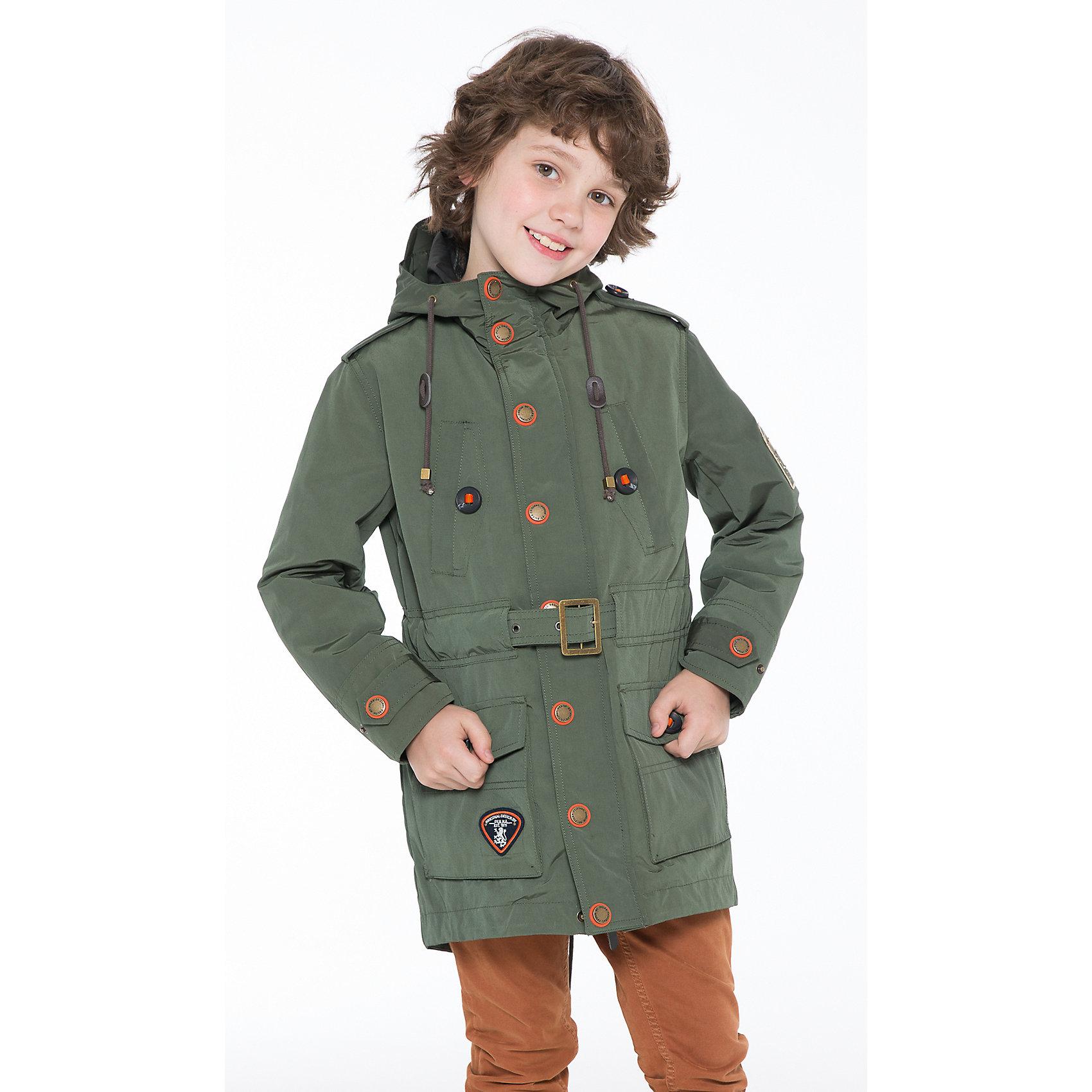 Куртка для мальчика PulkaКуртка для мальчика Pulka (Пулка) оснащена крепкой металлической молнией и клапаном на кнопках. Высокий воротник с капюшоном с утяжками и стильный пояс на металлической пряжке отлично защитят ребенка в непогоду. Стеганая утепленная подкладка на кнопках снимается. Спереди два глубоких нашивных кармана с клапаном, также два прорезных кармана на груди. Куртка украшена нашивками, шевронами, фирменными патчами. <br><br>Дополнительная информация:<br>-Цвет: темно-зеленый<br>-Сезон: осень-весна<br>-Материалы: верх – 60 % полиэстер, 40 % хлопок, утеплитель и подкладка – 100 % полиэстер<br><br>Куртка для мальчика Pulka (Пулка) – это выбор тех, кто ценит не только тепло и комфорт, но долговечность и высокое качество одежды!<br><br>Куртку для мальчика Pulka (Пулка) можно купить в нашем магазине.<br><br>Ширина мм: 356<br>Глубина мм: 10<br>Высота мм: 245<br>Вес г: 519<br>Цвет: зеленый<br>Возраст от месяцев: 120<br>Возраст до месяцев: 132<br>Пол: Мужской<br>Возраст: Детский<br>Размер: 146,158,134,164,128,140,152<br>SKU: 4125705