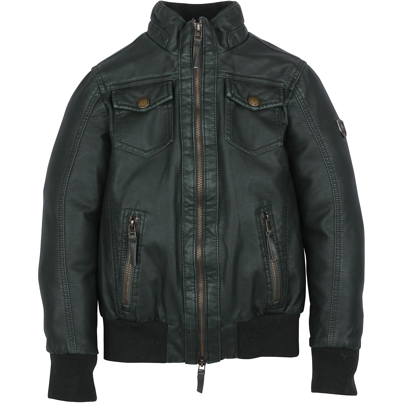 Куртка для мальчика PulkaВерхняя одежда<br>Стильная и практичная Куртка-бомбер (пилот) для мальчика Pulka черного цвета из экокожи. Теплая и непромокаемая куртка создаст настоящий комфорт. Имеет множество металлических деталей: молнии, заклепки. Трикотажные манжеты и низ куртки эластичные и выполнены в цвет основной ткани. Воротник отложной. Оснащена 4 карманами: 2 с клапаном  на кнопках, 2 врезных на молнии. Настоящая находка для гардероба юного модника!<br><br>Дополнительная информация:<br>-Сезон: осень-весна<br>-Материалы: 100% полиуретан <br><br>Куртка для мальчика Pulka (Пулка) – это выбор тех, кто ценит не только тепло и комфорт, но долговечность и высокое качество одежды!<br><br>Куртку для мальчика Pulka (Пулка) можно купить в нашем магазине.<br><br>Ширина мм: 356<br>Глубина мм: 10<br>Высота мм: 245<br>Вес г: 519<br>Цвет: черный<br>Возраст от месяцев: 120<br>Возраст до месяцев: 132<br>Пол: Мужской<br>Возраст: Детский<br>Размер: 146,134,128,140,158,164,152<br>SKU: 4125742