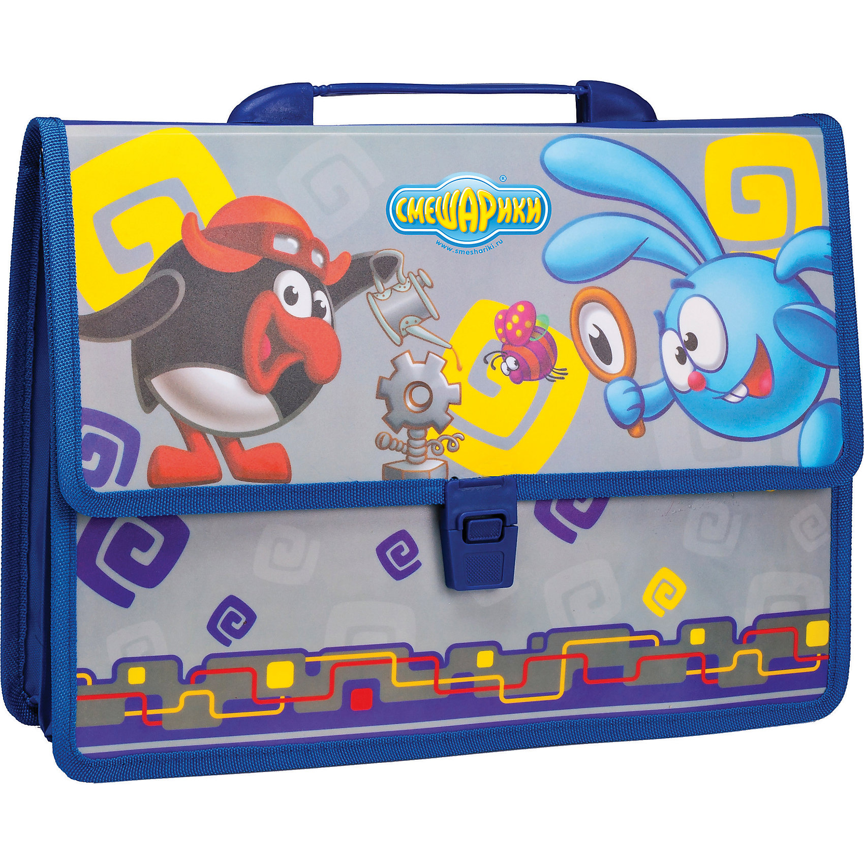 Папка-портфель с защелкой (синяя), Смешарики