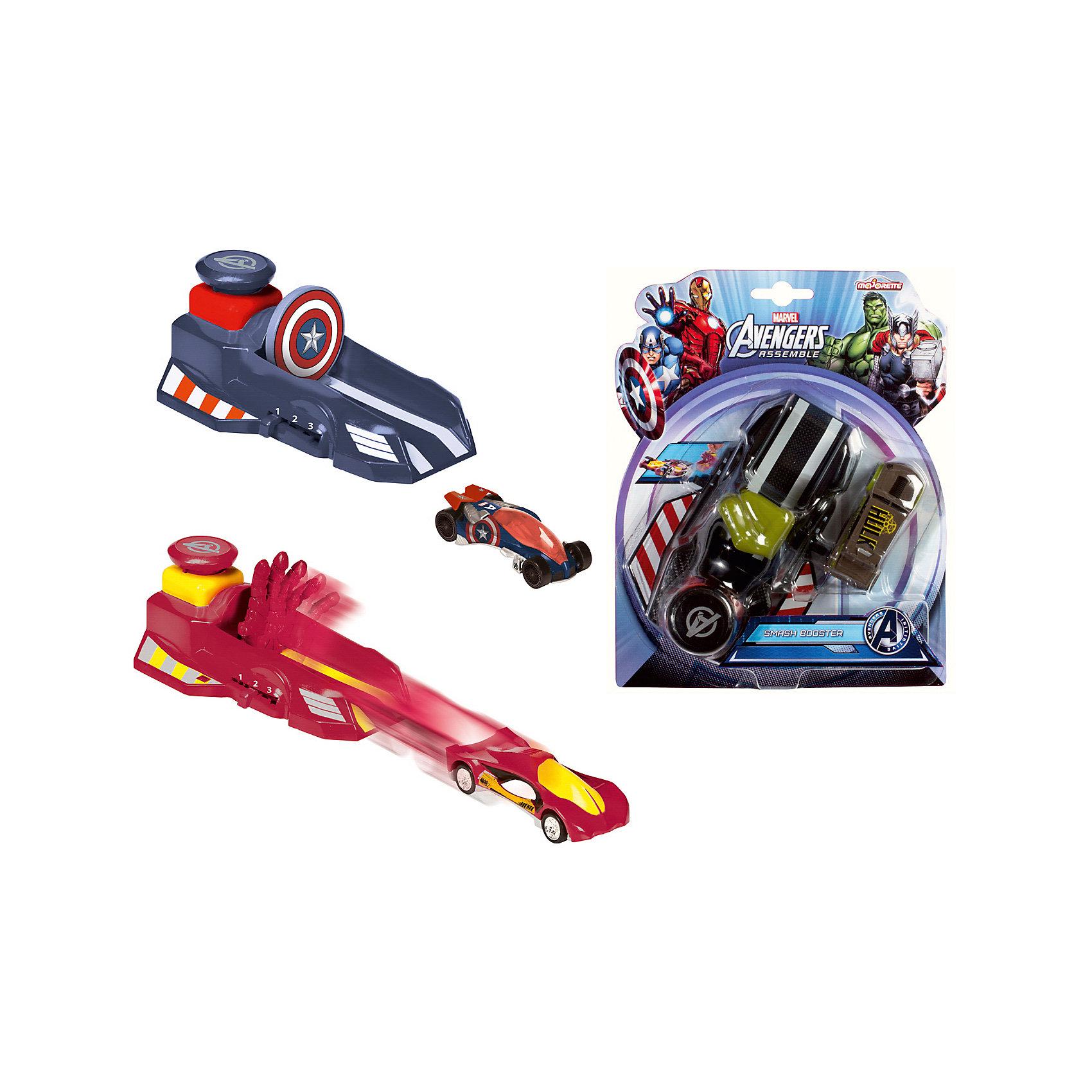 Пусковой механизм Мстители + авто 7,5 см, MajoretteПусковой механизм Мстители + авто 7,5 см, Majorette, в ассортименте – это набор для всех любителей высоких скоростей.<br>Удивительный игровой набор «Мстители» (Avengers) от Majorette включает в себя автомобиль и специальное пусковое устройство, оформленные в стиле одного из самых известных супергероев: Халка, Железного Человека или Капитана Америки. При этом, пусковое устройство не только имеет характерную супергерою раскраску, а выполнено в стиле его сверхспособностей. Так, машину Капитана Америки толкает пусковое устройство со знаменитым щитом, Халка — большой зеленый кулак, а Железного Человека раскрытая ладонь. Устройство можно настроить на одну из трех желаемых скоростей — от умеренной до очень быстрой.<br><br>Дополнительная информация:<br><br>- В ассортименте: 3 вида<br>- В наборе: автомобиль, пусковое устройство<br>- 3 режима скорости<br>- Размер машинки: 7,5 см.<br>- Материал: пластик<br>- Размер упаковки: 250х60х200 мм.<br>- Вес: 280 г.<br><br>ВНИМАНИЕ! Данный артикул представлен в разных вариантах исполнения. К сожалению, заранее выбрать определенный вариант невозможно. При заказе нескольких артикулов возможно получение одинаковых.<br><br>Пусковой механизм Мстители + авто 7,5 см, Majorette, в ассортименте можно купить в нашем интернет-магазине.<br><br>Ширина мм: 250<br>Глубина мм: 60<br>Высота мм: 200<br>Вес г: 280<br>Возраст от месяцев: 36<br>Возраст до месяцев: 72<br>Пол: Унисекс<br>Возраст: Детский<br>SKU: 4128898